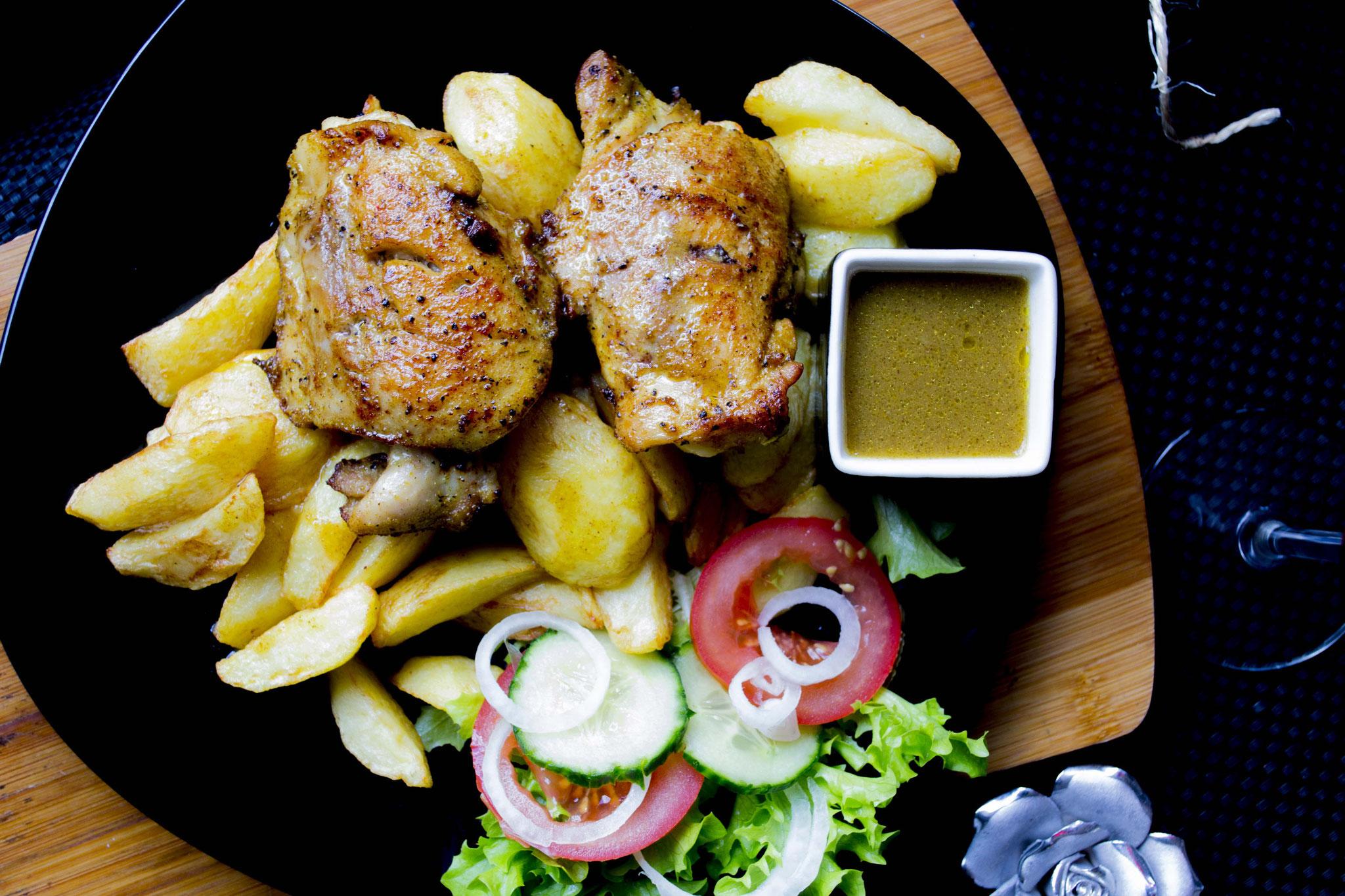 Gebakken kip met aardappel