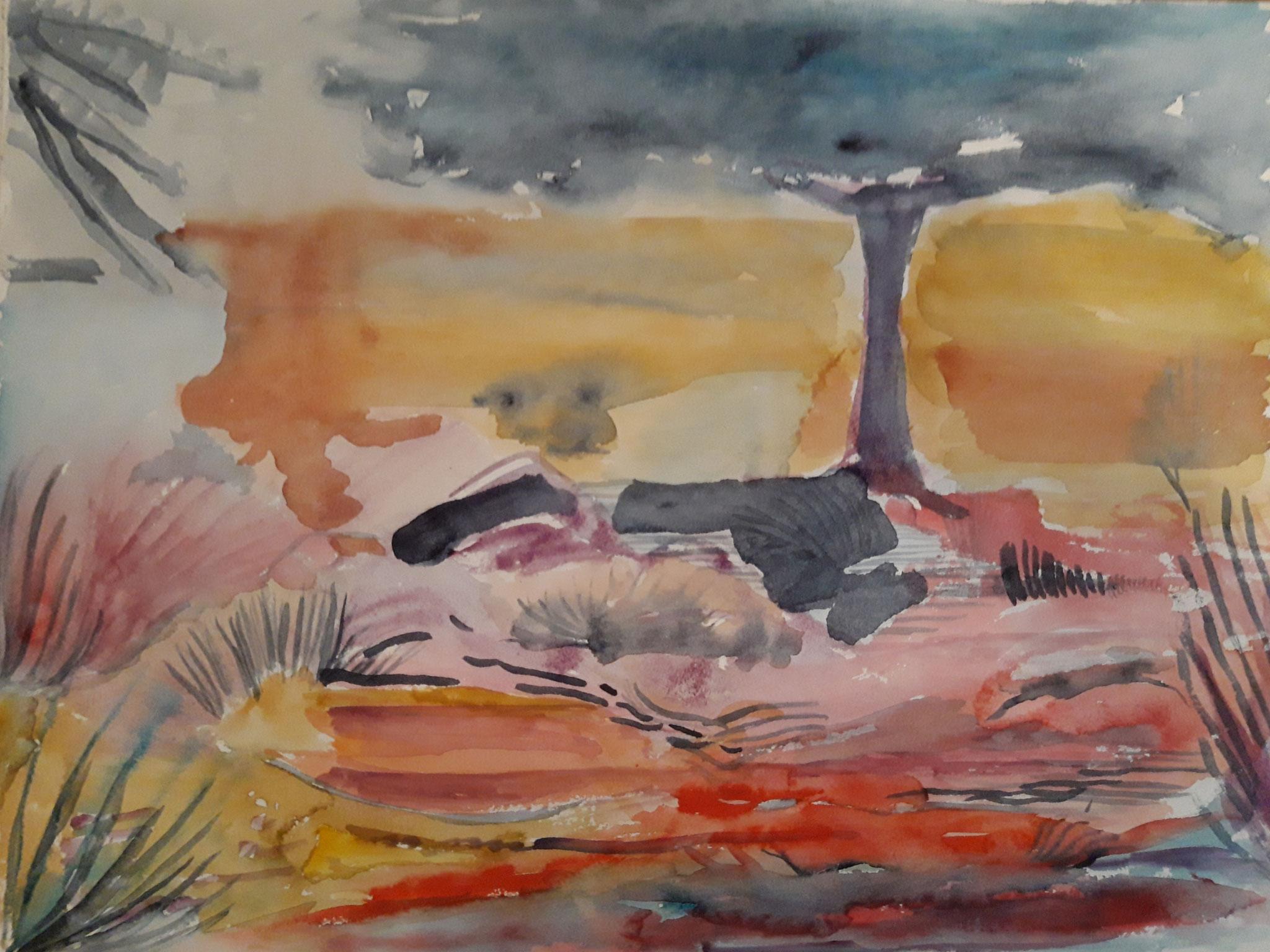 Ibizza, Landschaft, 2020, Aquarell auf Bütten, 36 x 48 cm
