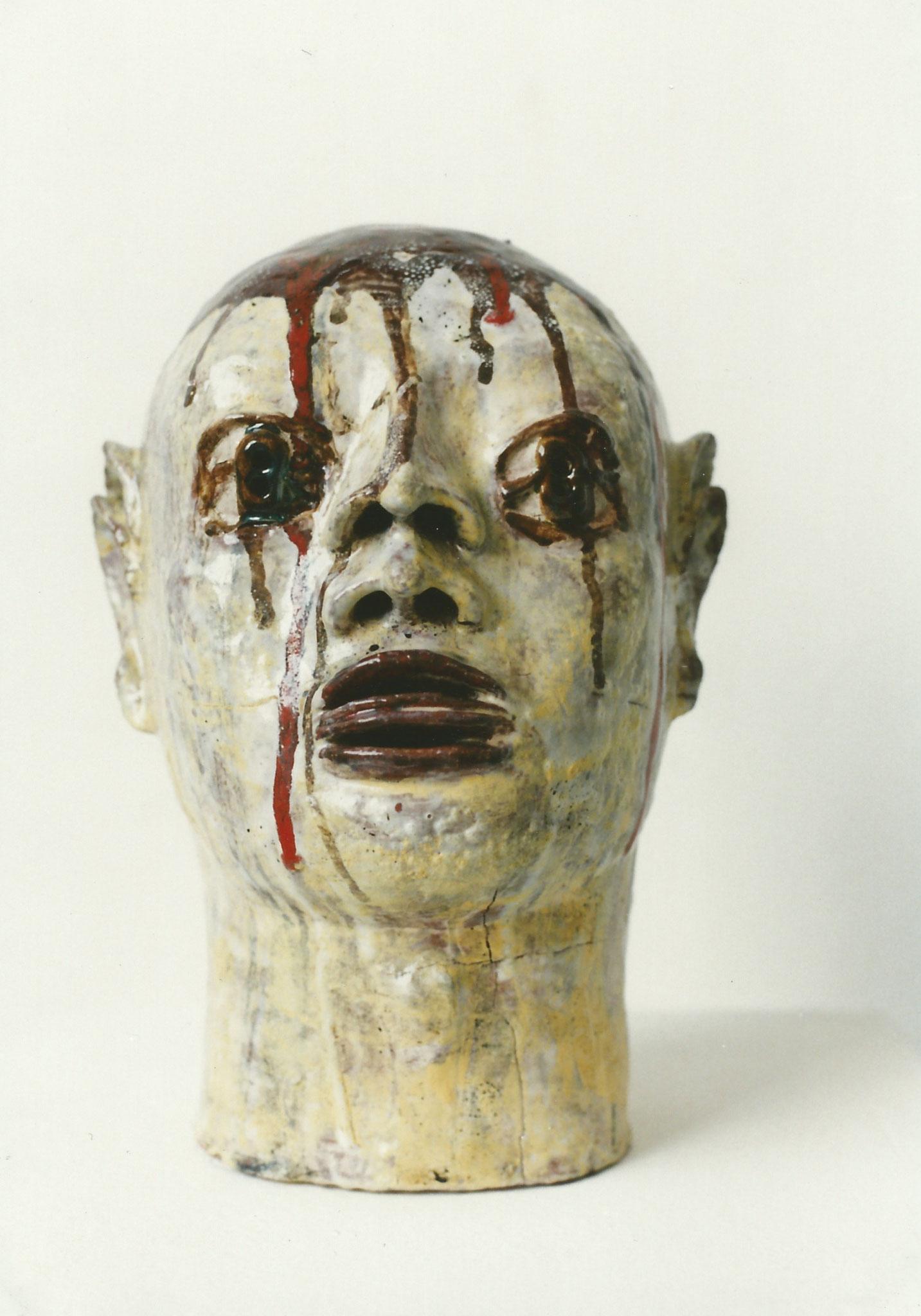 Januskopf Nr.5, Keramik glasiert, 1996 (33,8 x 22,5 x 24,3 cm)