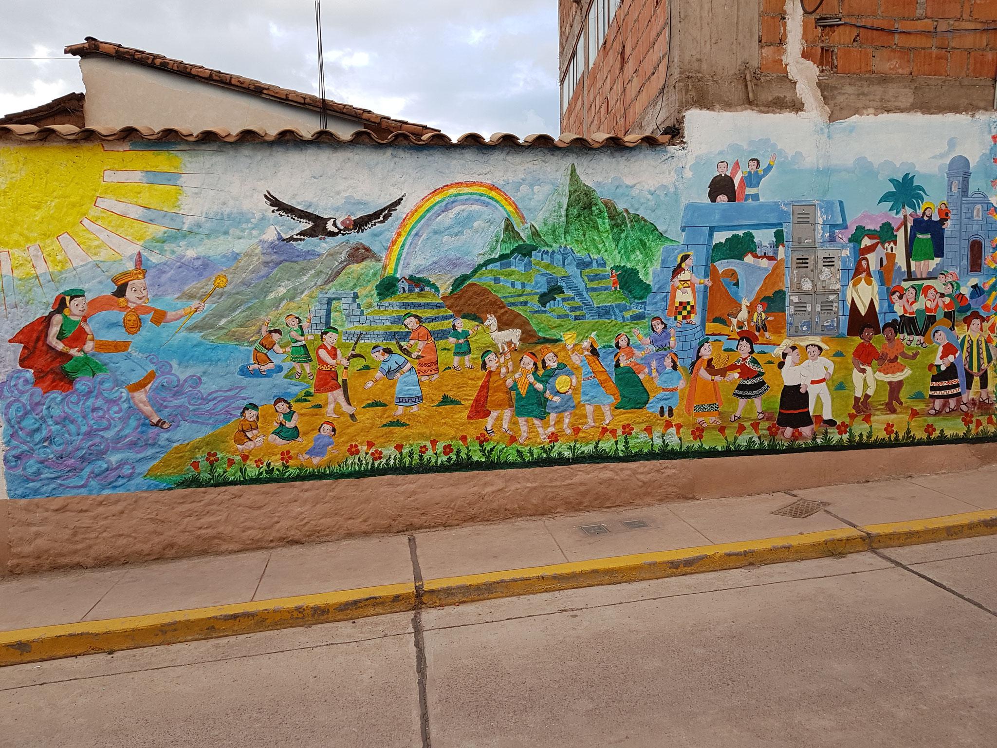 Ein Bild auf der Mauer am Kindergarten.