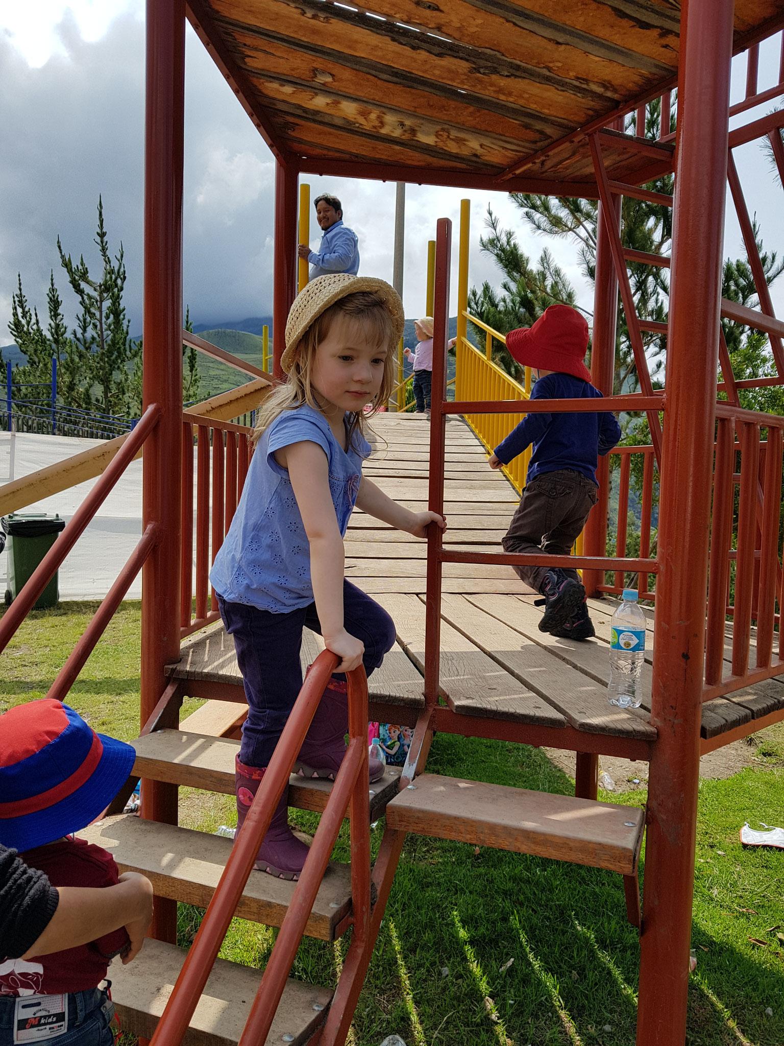 Marta auf dem Klettergerüst