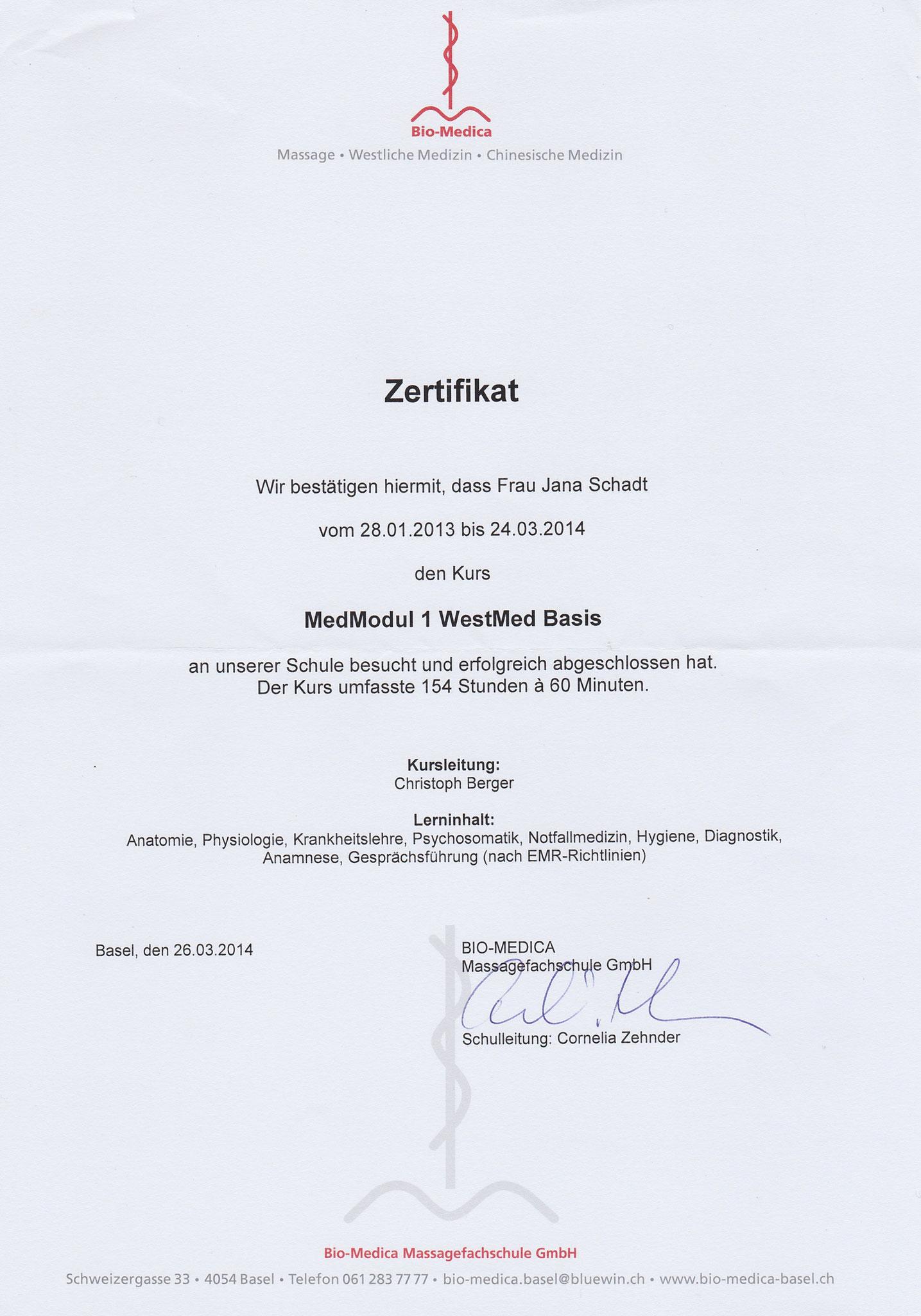 Jana Schadt Medizinische Grundlagen Bio Medica Basel