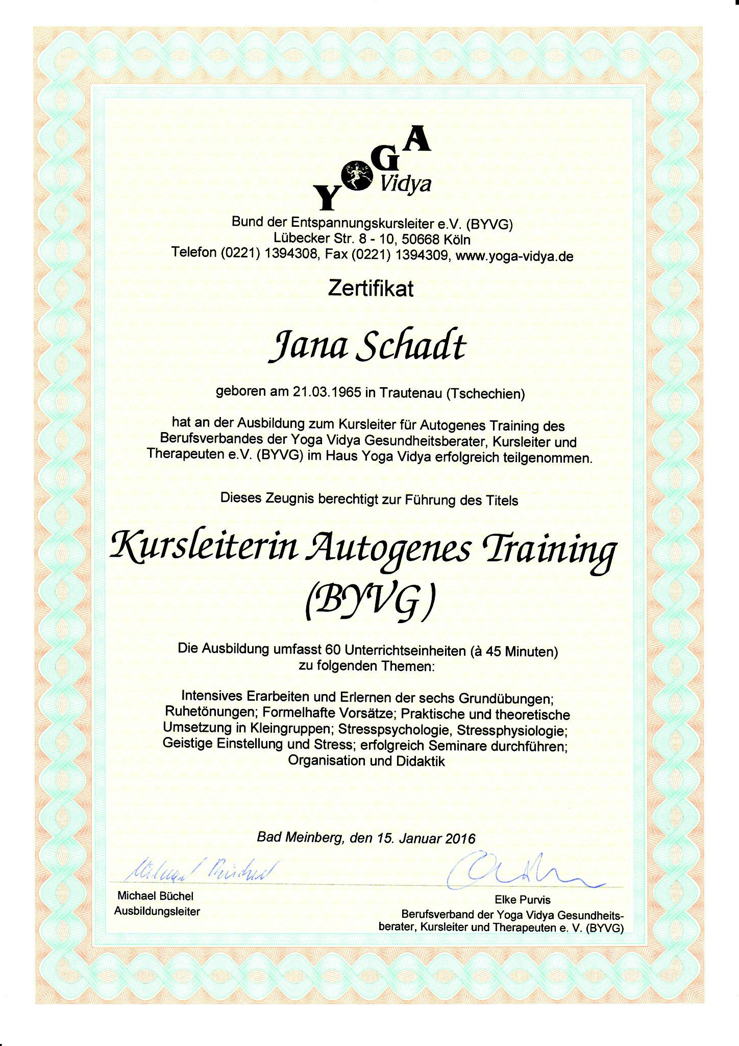Jana Schadt Autogenes Training
