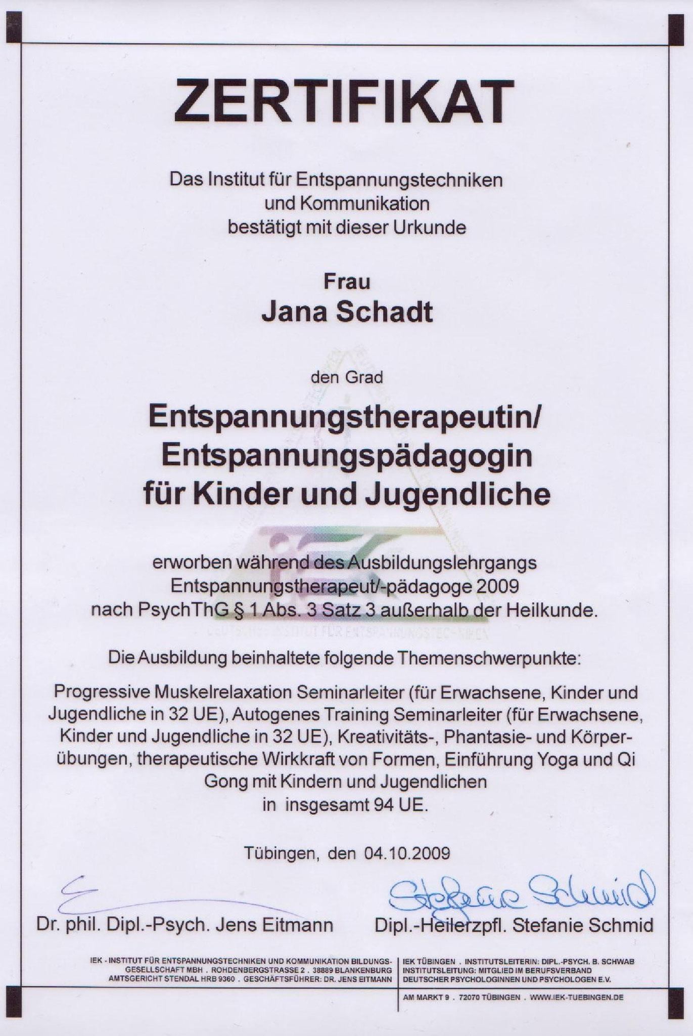 Jana Schadt Entspannungstherapeutin