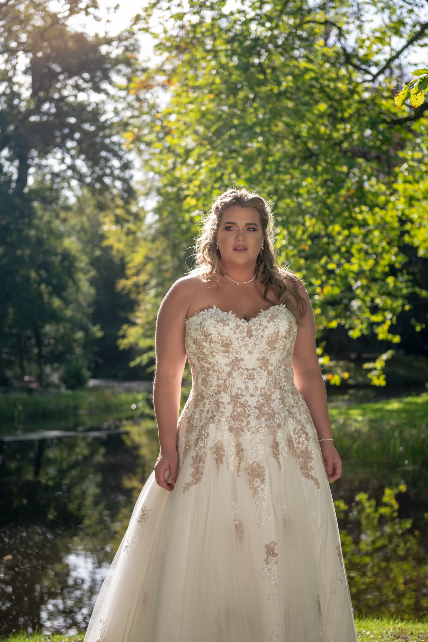 trägerlos Brautkleid Farbe Peach ivory Bridal Star Tüll Verlauf Korsage myLovely Curvy Prinzessin Tüll