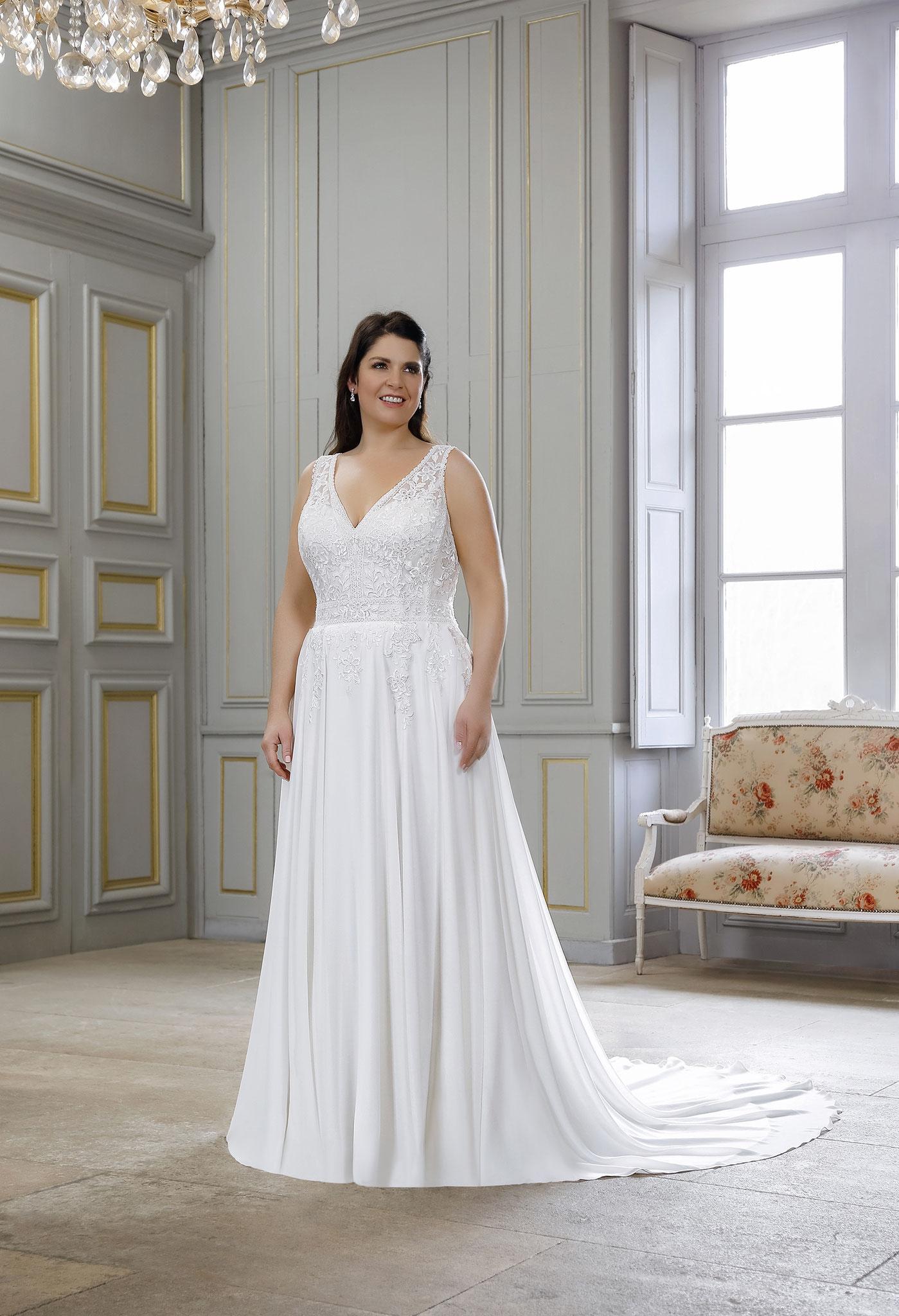 myLovely München Boho Brautkleid Amelie Vintage Sommer fließend leicht XXXXL ivory offener Rücken Bride