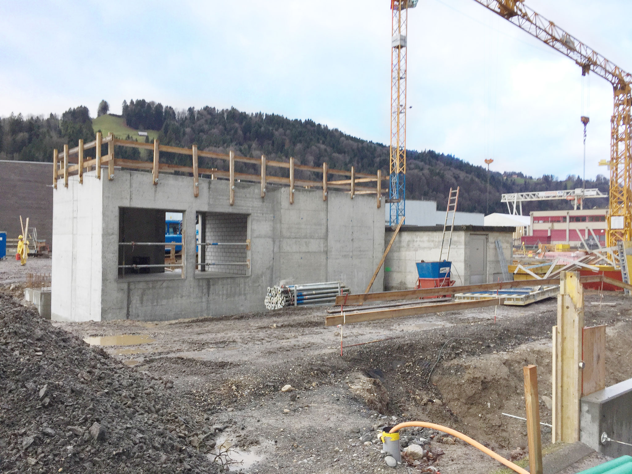 The small building of the new transformer station for the current supply is built with bricks.