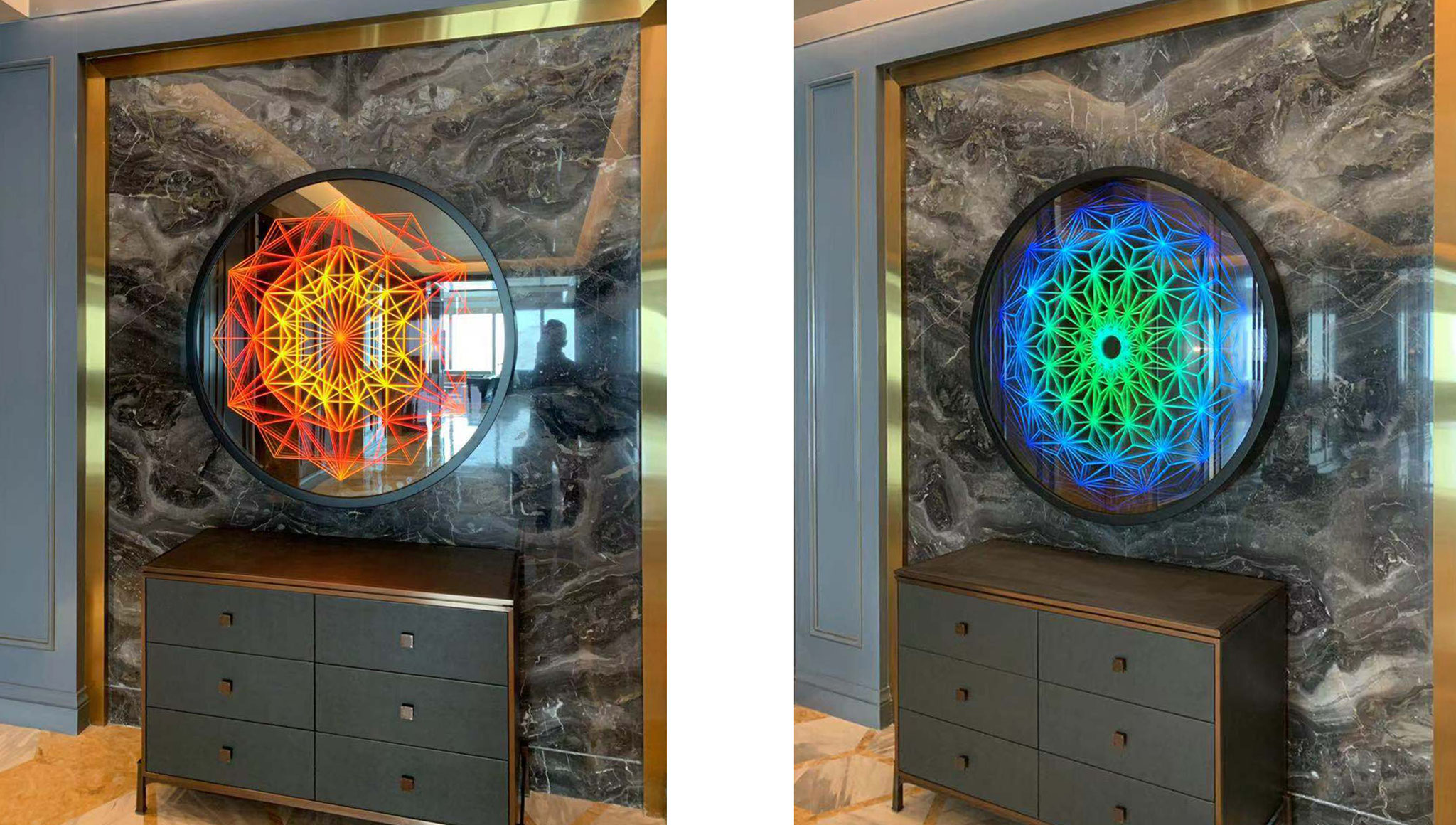 """Infinity-Mirror-artworks """"DIAMOND STAR"""" and """"DIAMOND TORUS"""" (Ø120 x 9 cm) installed at the reception lobby of bar & dining area of the new luxury hotel Conrad in Shenyang / China. July 2019."""