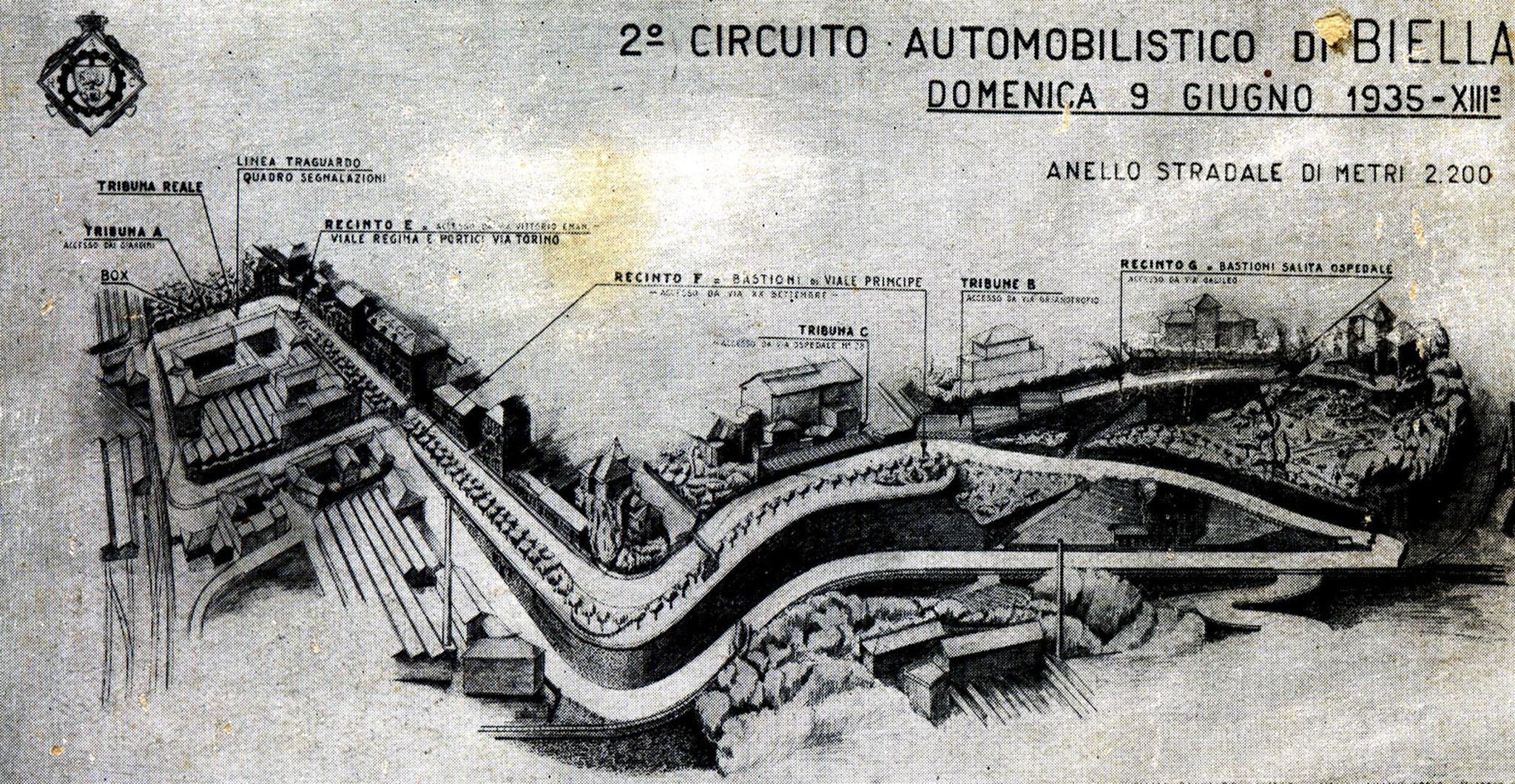 Cartina illustrativa del percorso del II Circuito automobilistico di Biella, 9 giugno 1935