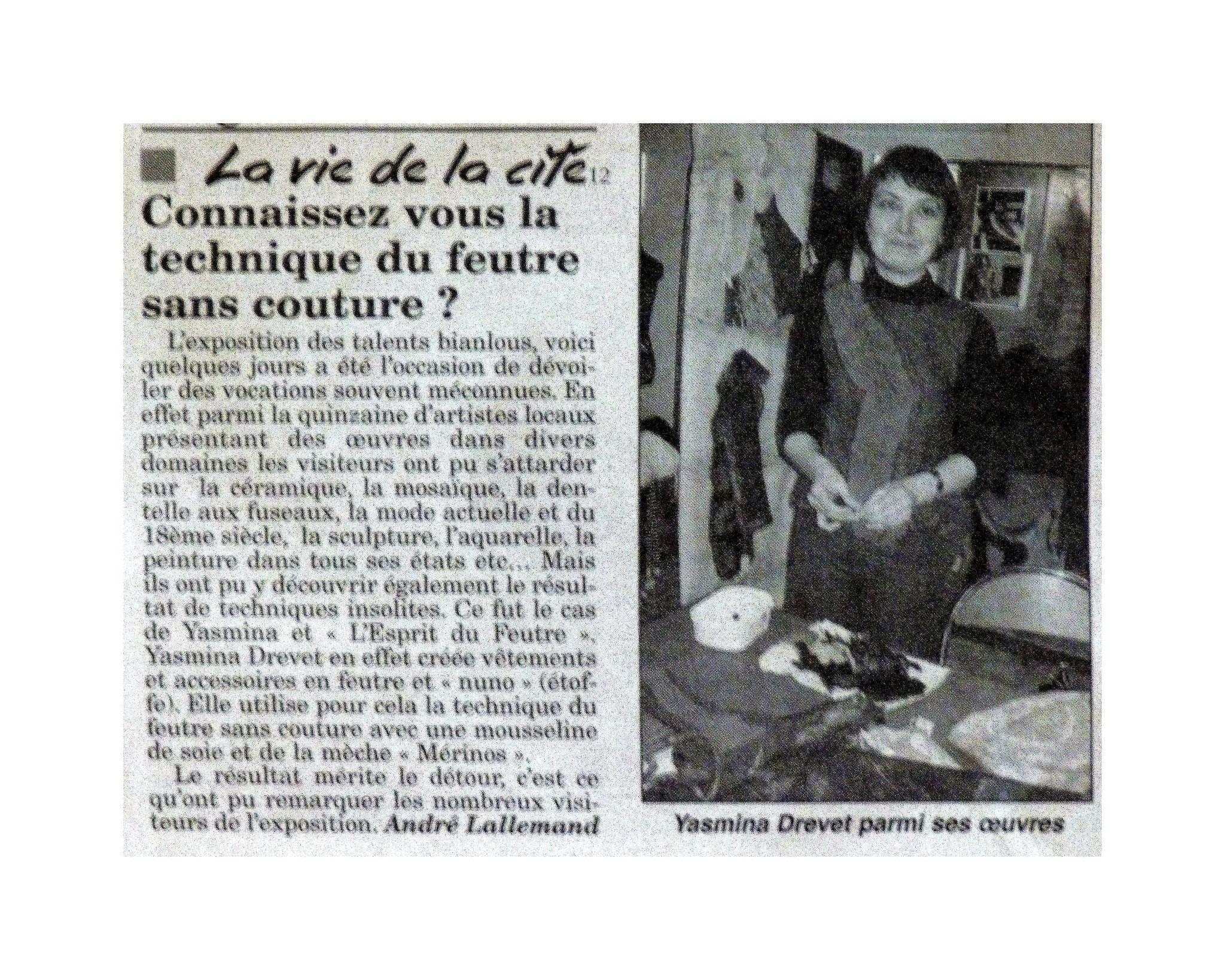 """VOSGES MATIN """"LES TALENTS BIANLOUTS DU 12 AU 13 NOVEMBRE 2011"""""""