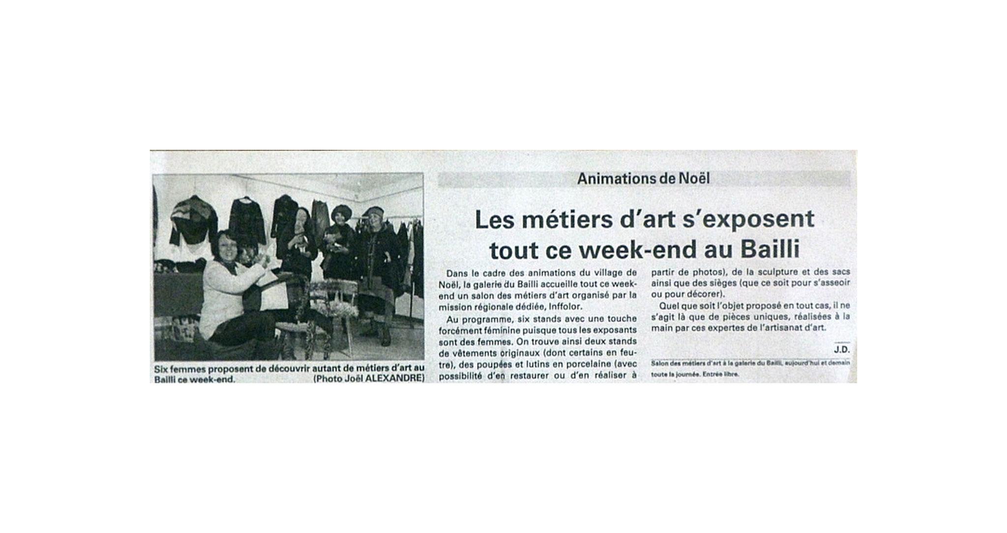 """L'EST REPUBLICAIN """"SALON DES METIERS D'ART AU BAILLI DU 16 AU 18 DECEMBRE 2011"""""""