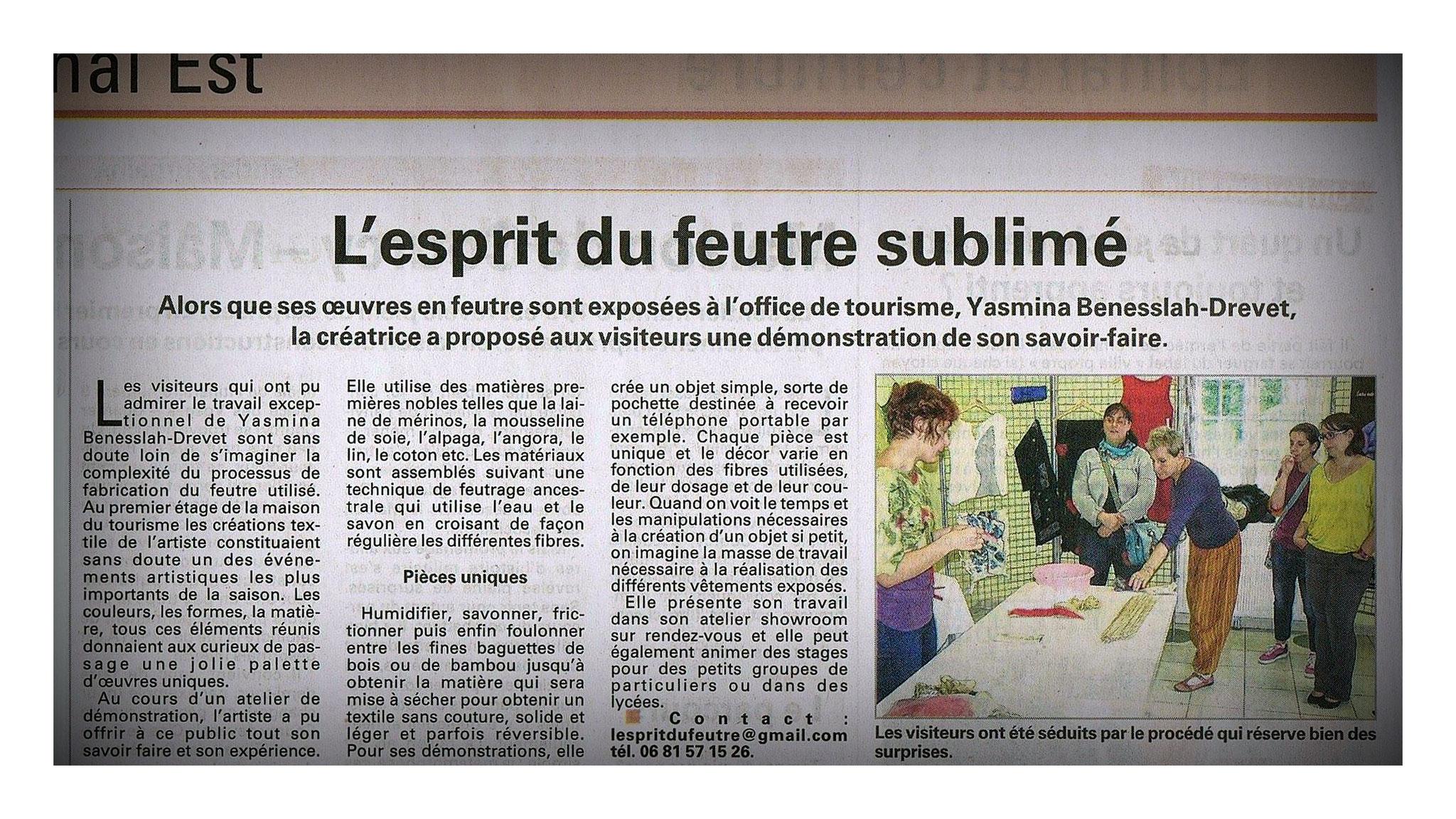 """VOSGES MATIN """"EXPOSITION ET DEMONSTRATION A L'OFFICE DU TOURISME DE XERTIGNY"""" LE 5 AOUT 2014"""