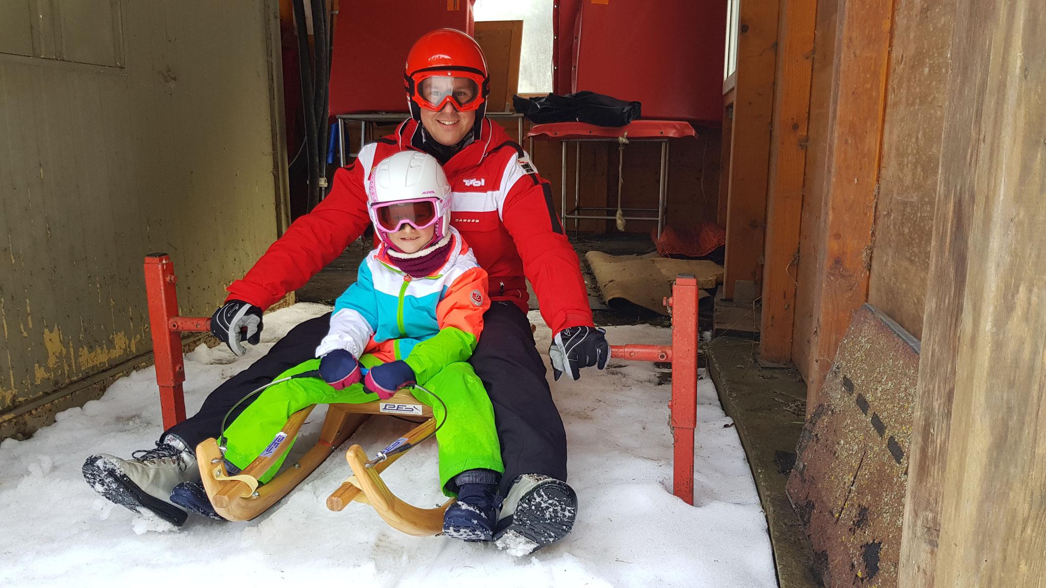 Am Bild Rodelprofi Christoph Knauder mit seiner Tochter Lara am Start. (Foto: RC Mondi)