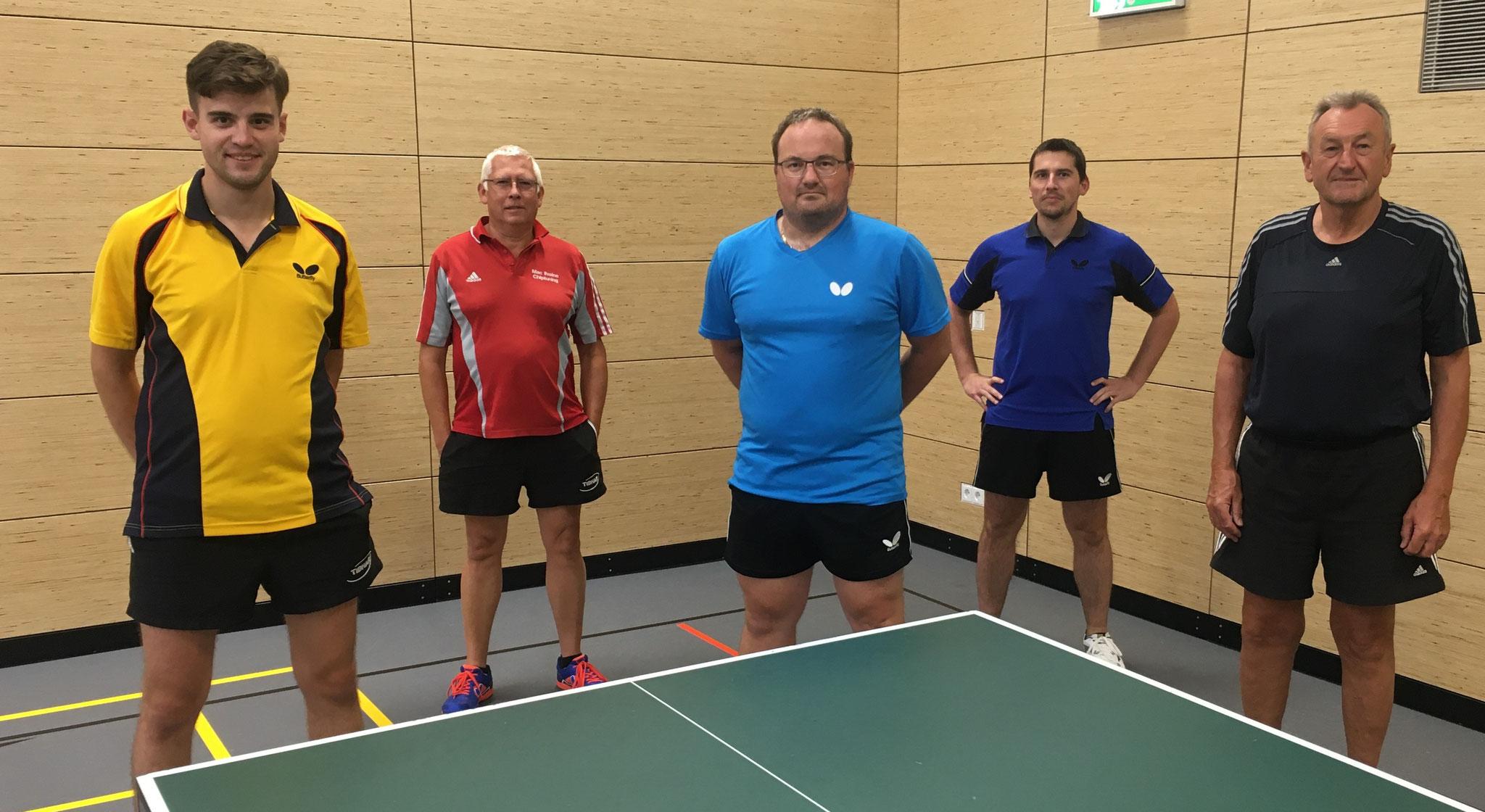 Die Sieger der Herren A, B und C v. l. Manuel Völke, Kai Mac Ilvaine, Jürgen Damböck, Christoph Lichtenberger und Günter Hoch