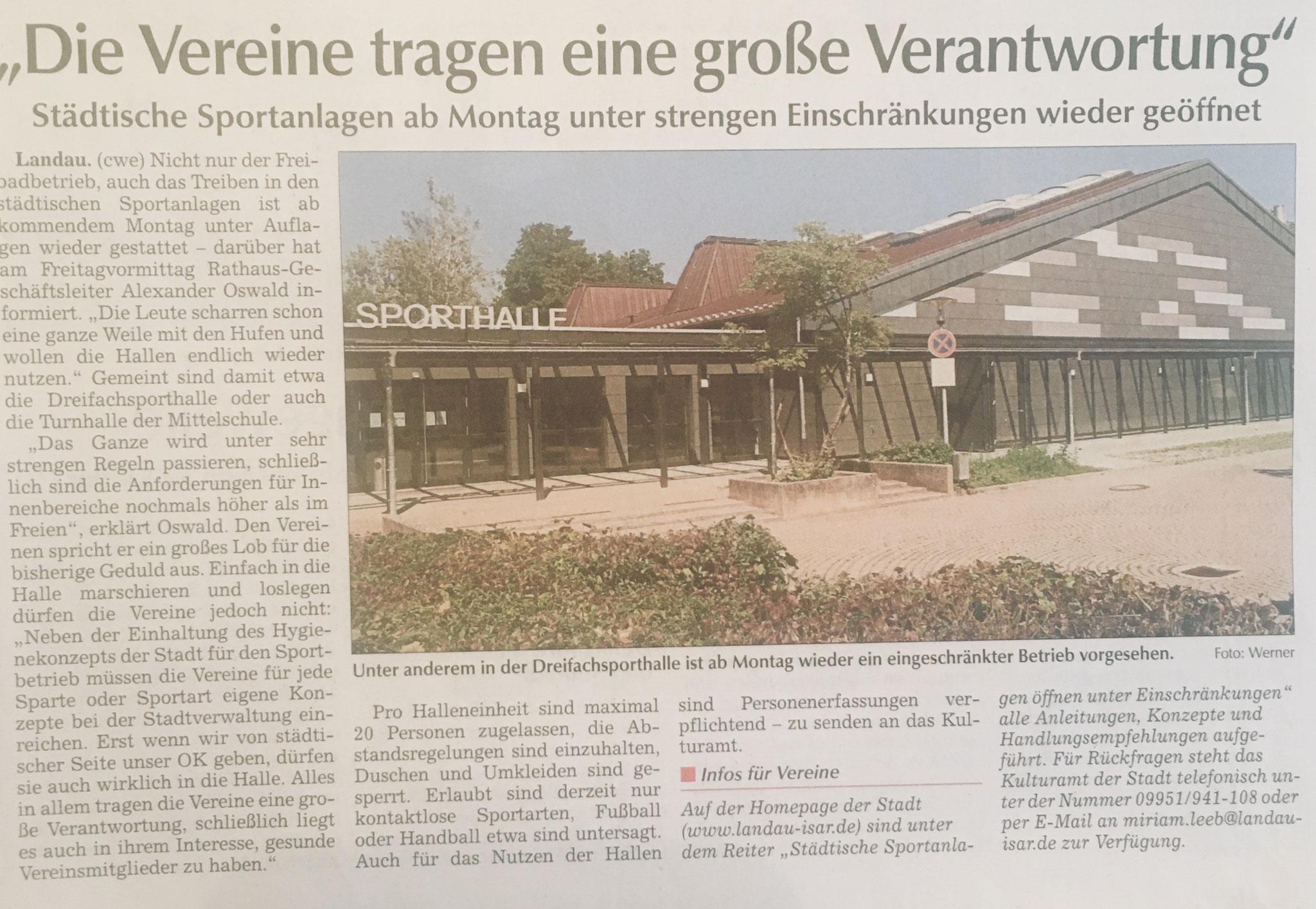 Pressebericht der Stadt Landau am 13.06.2020