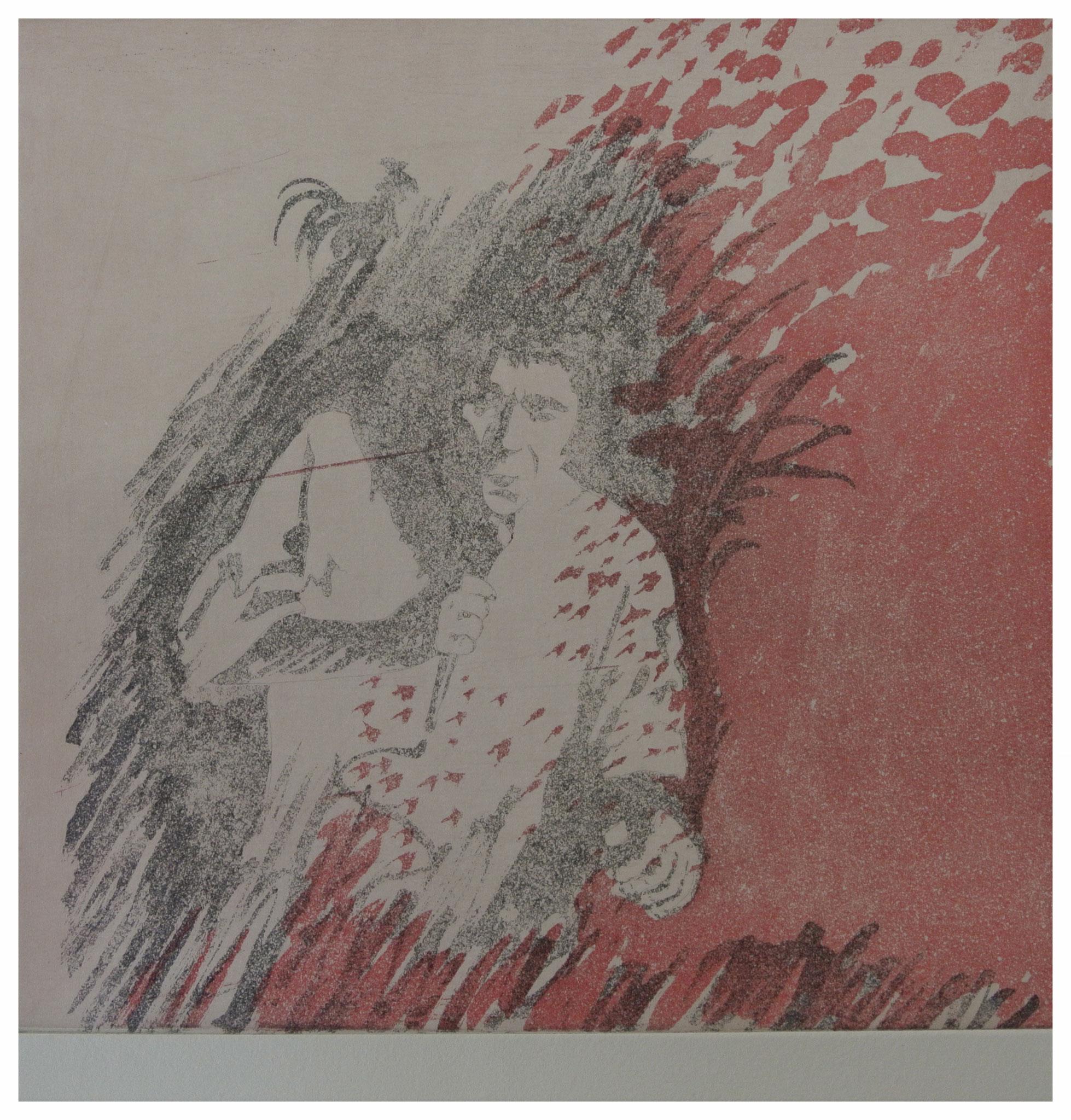 """Plume d' ange - Claude Nougaro "" Aquatinta mit Vernis mou"" / Druck Atelier H. Pfister Bern"