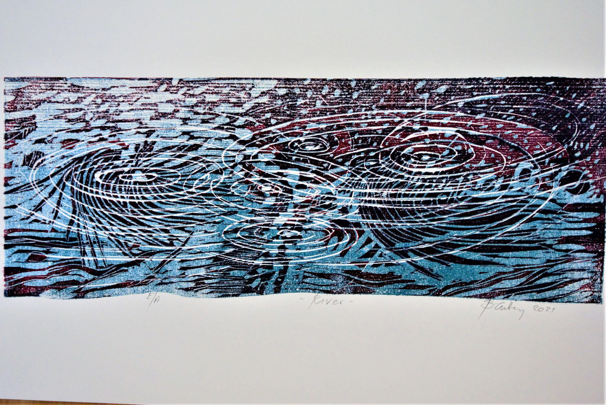 """Rain"" Holzschnitt ca. 60x25cm (verlorene Platte)"