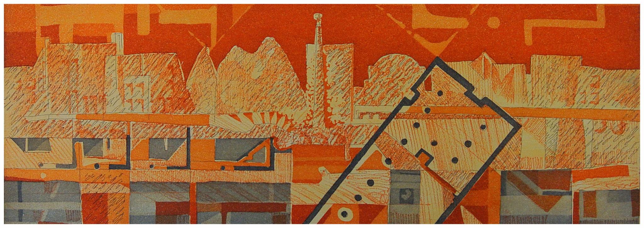 """Grundriss in Orange """"Aquatinta Strichätzung"""" / Druck Atelier H. Pfister Bern"""