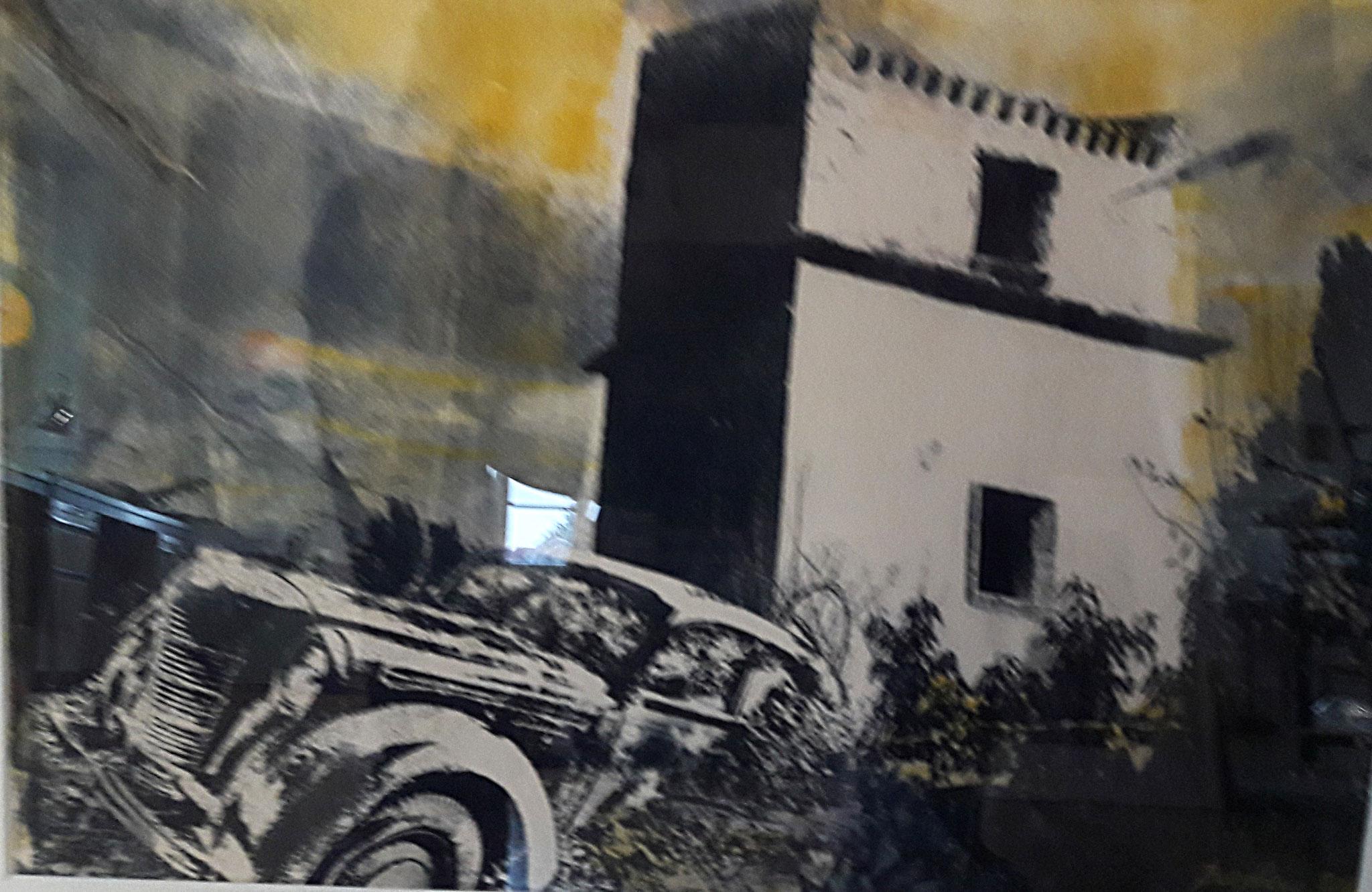 """""""le miroir du crime"""" Monotypie mit Gumprint  Format ca.50 x 40 cm"""