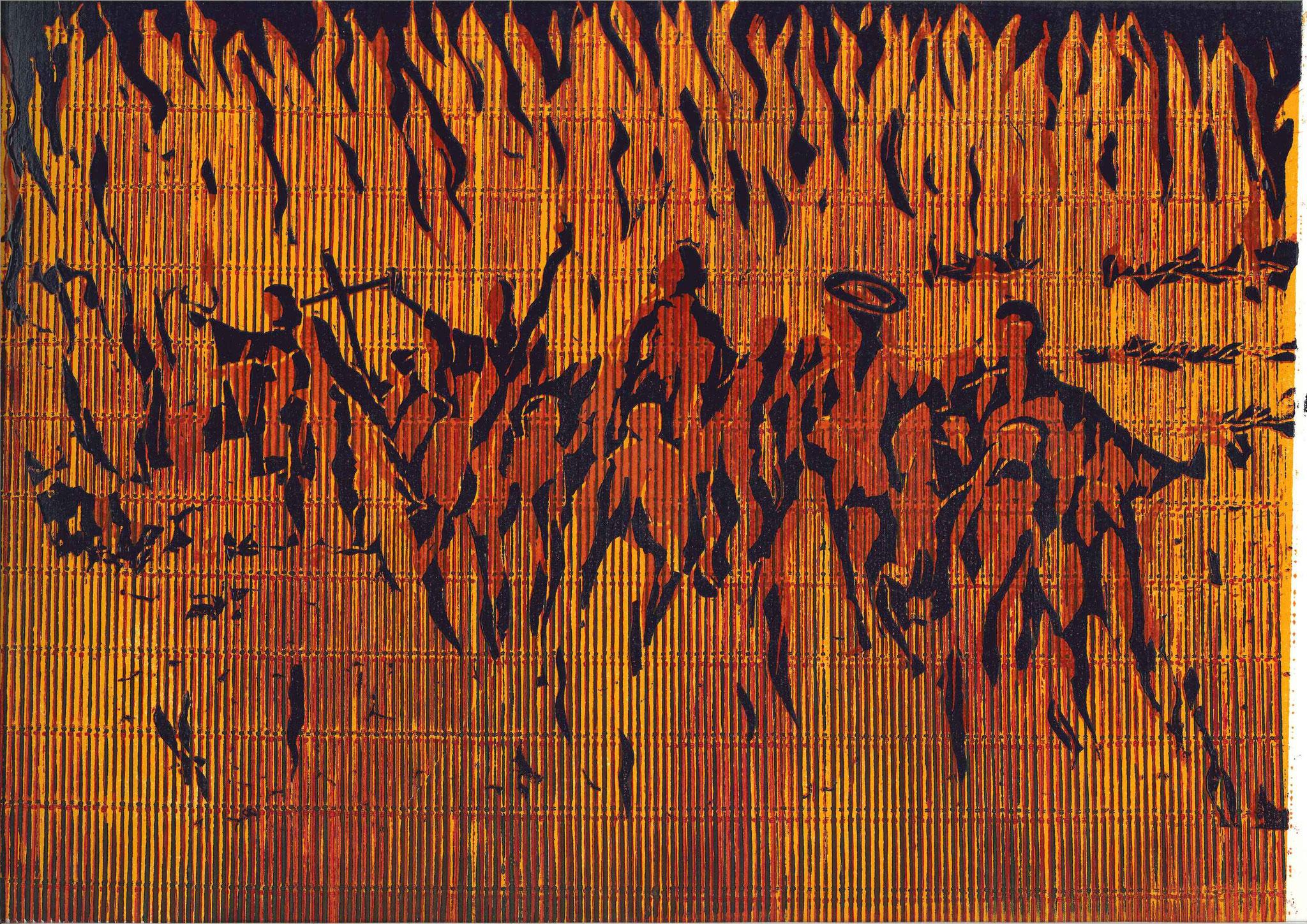 """le bùcher des cathatares"" 60x45cm Holzschnitt (verlorene Platte)"
