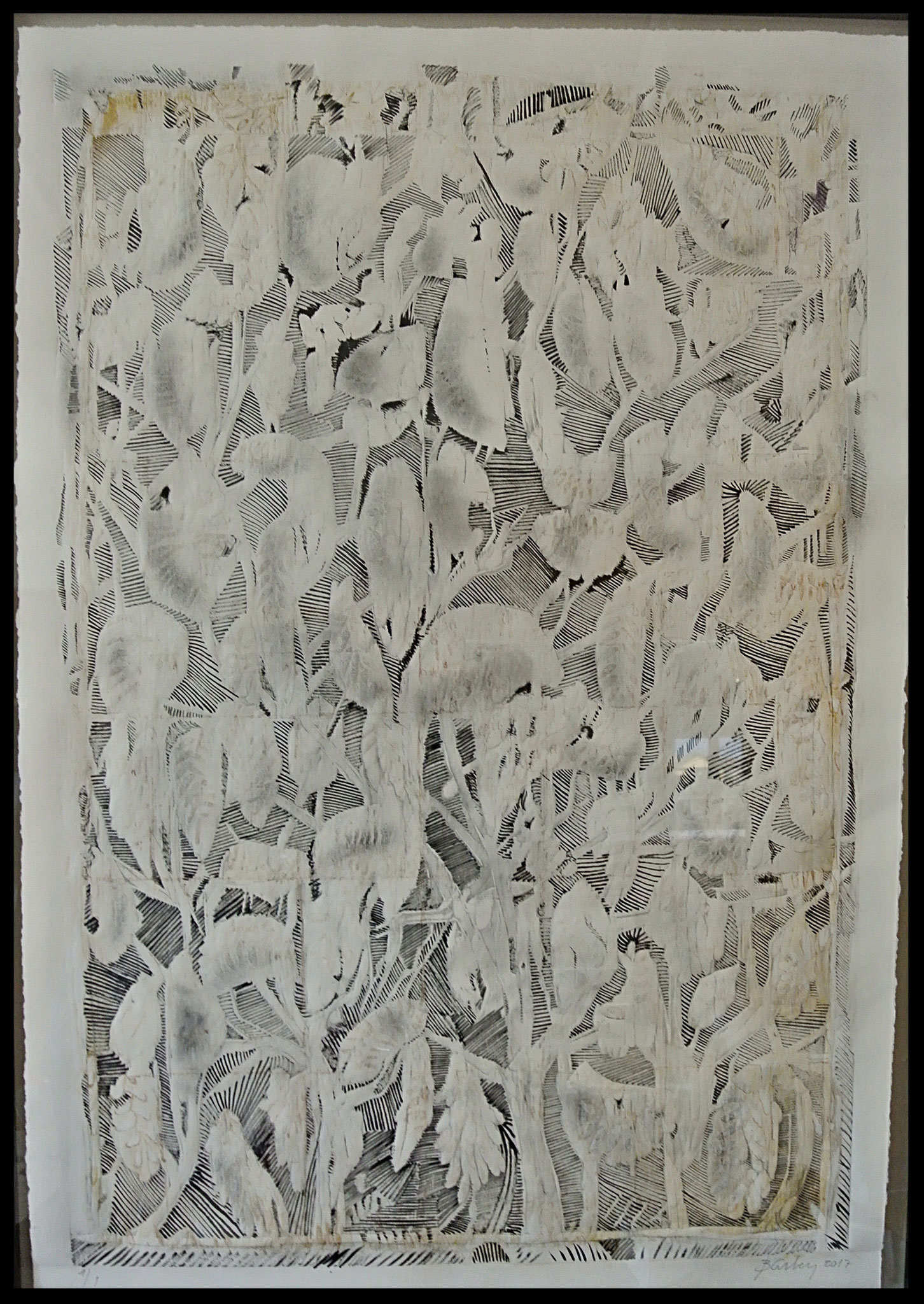 """""""Stollenblumen"""" Prägung / Tusche und Graphit,  aus dem Zyklus """"Montevecchio"""", 2018,  ca. 70x105cm"""