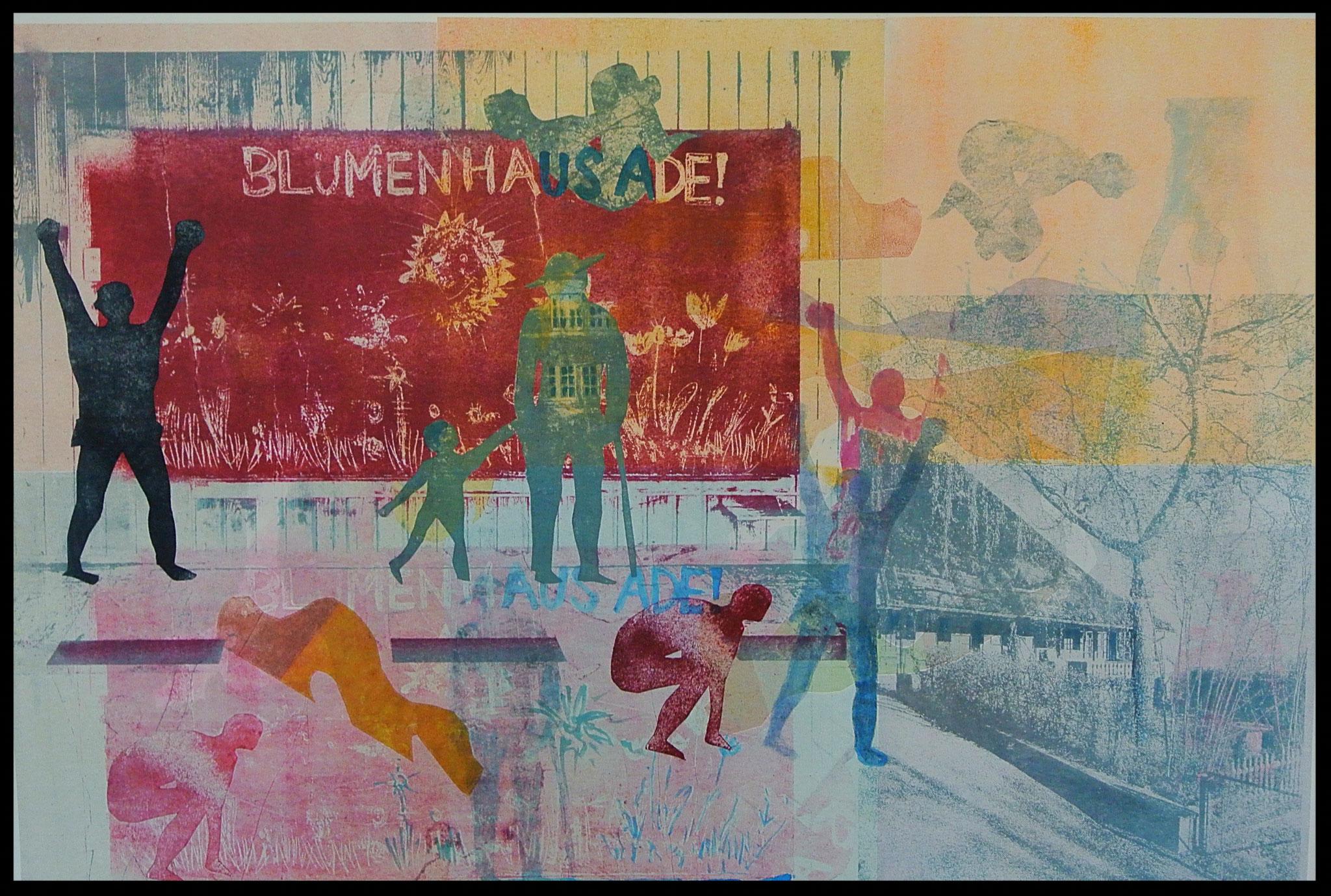 """Aus Bilderzyklus Blumenahus """" Das unsichtbare Haus"""". Monotypie mit Gum Print"""