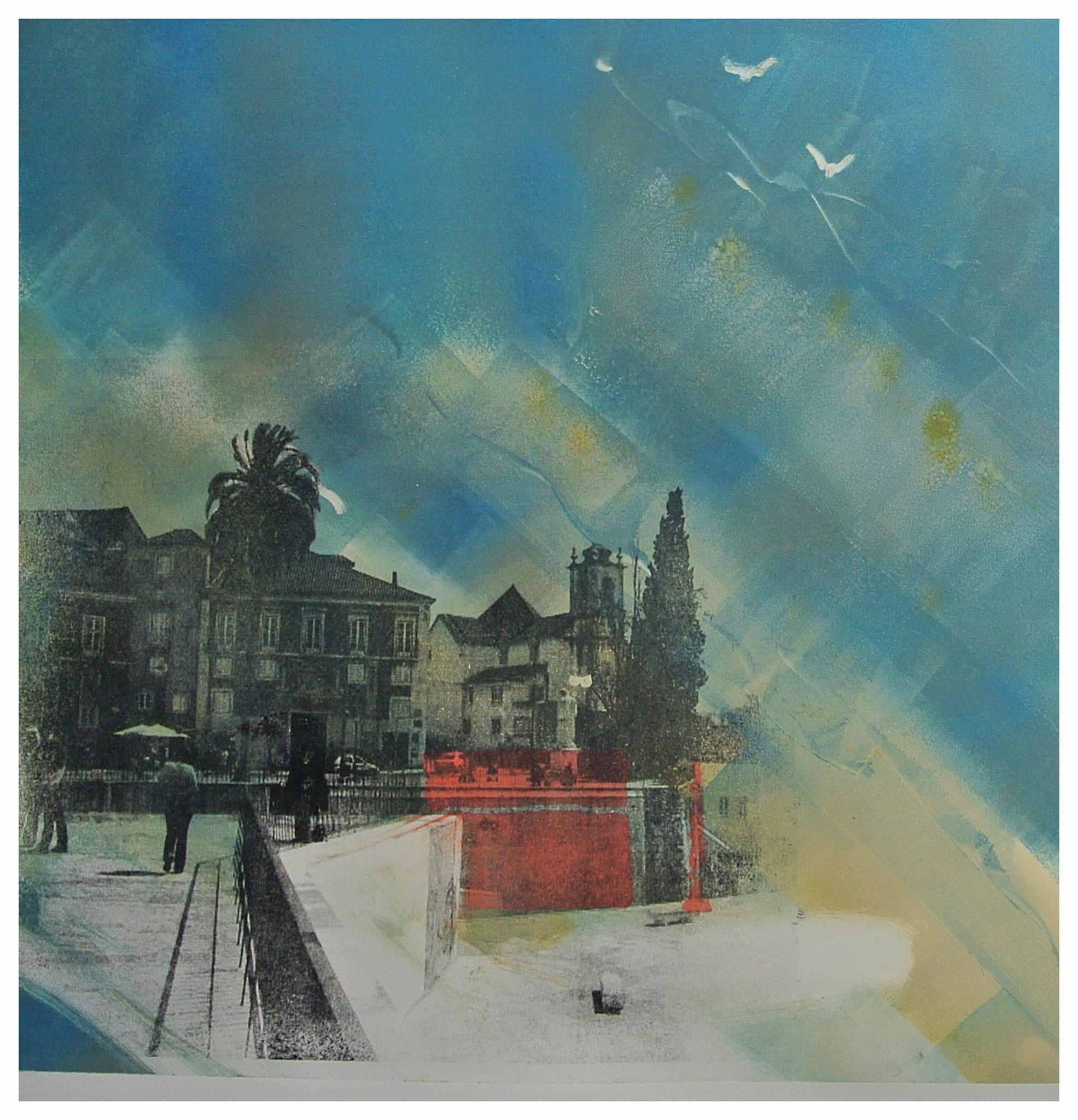 """"""" Lisboa""""Monotypie/Gummprint ca. 40 x40cm"""