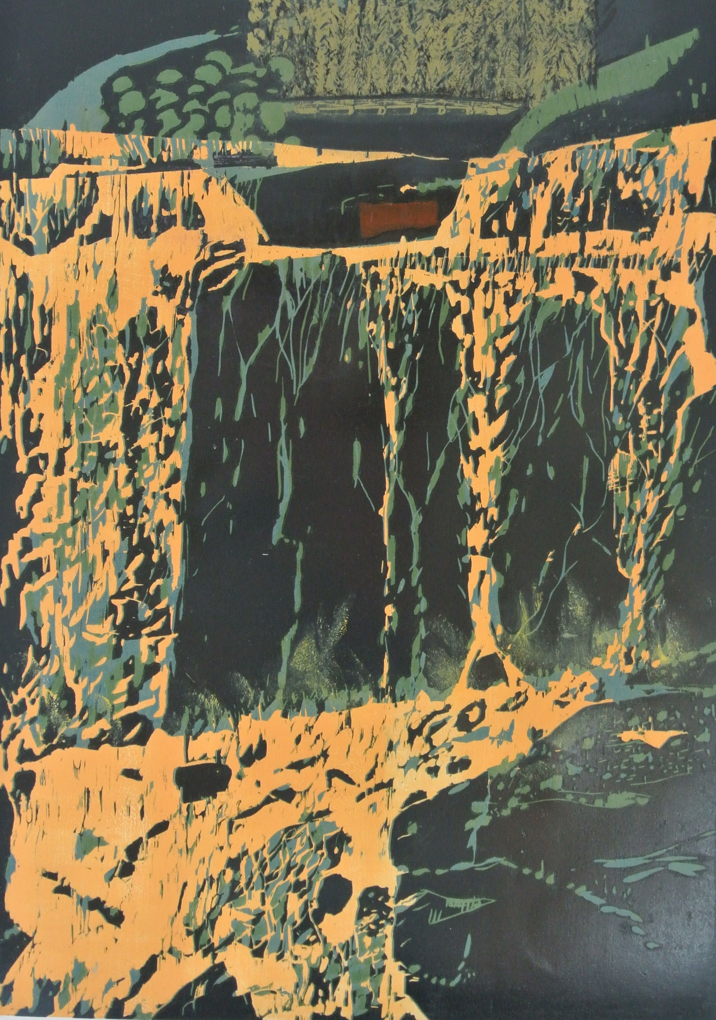 """Gold-Waterfall"""" Farbholzschnitt /78 x 117cm Auflage 2 Ex"""