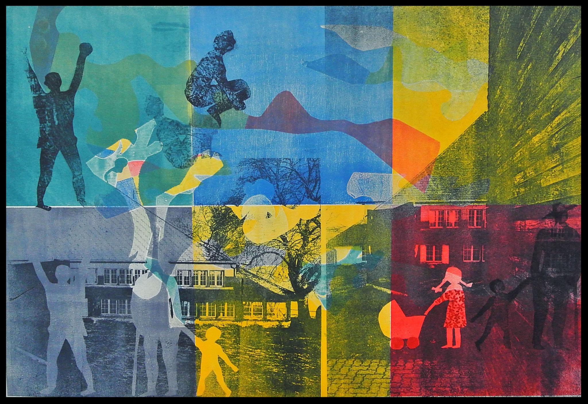 """Aus Bilderzyklus Blumenhaus """" Das unsichtbare Haus"""". Monotypie mit Gum Print"""