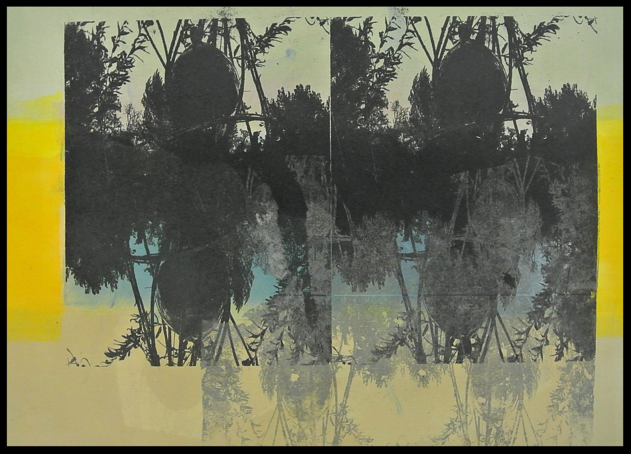 """"""" Gartenspiegel"""" Monotypie und Gumprint auf Büttenpapier Bild Format ca. 48 x 36cm"""