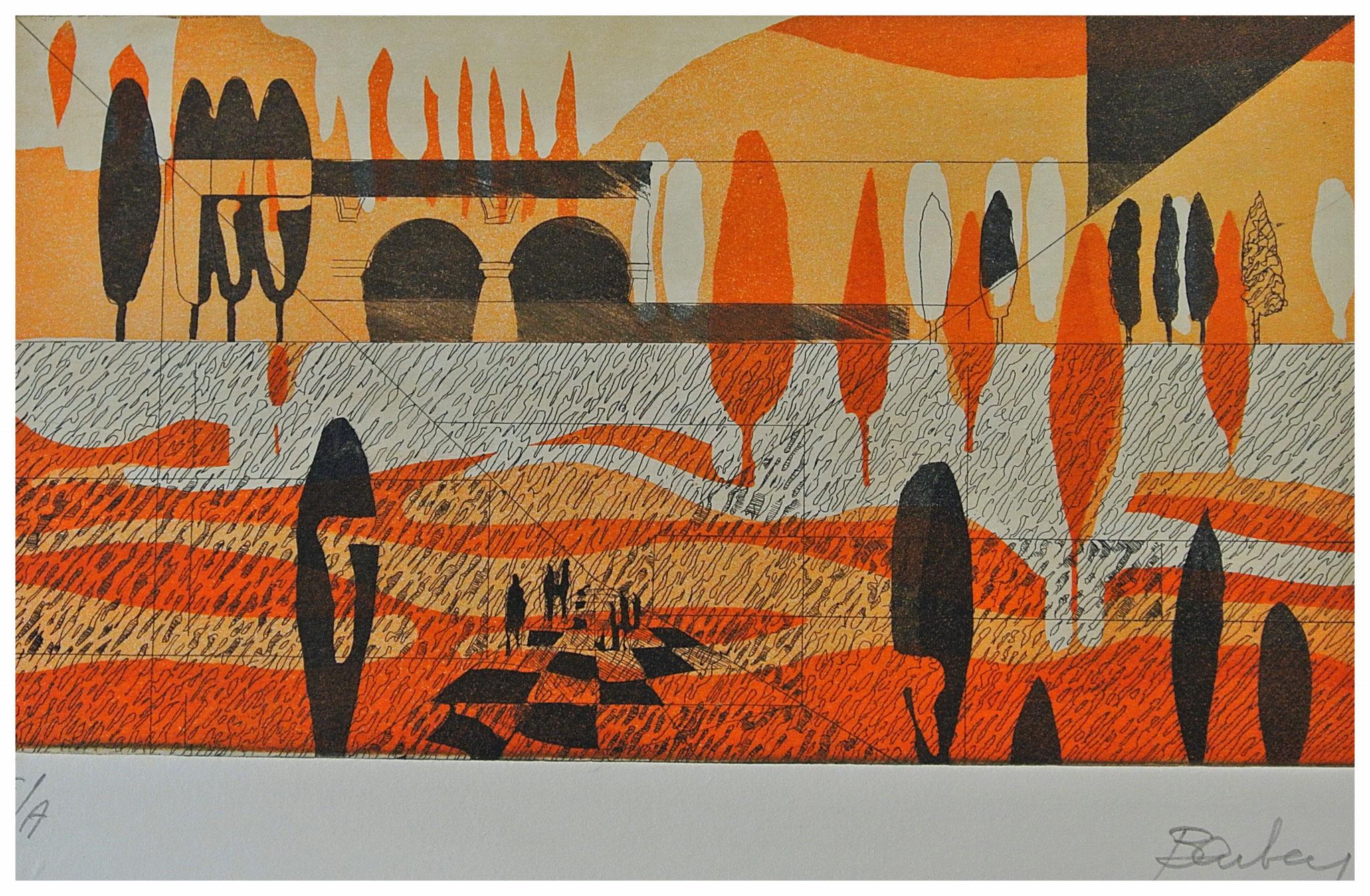 "Römische Landschaft ""Aquatinta Strichätzung "" / Druck Atelier H. Pfister Bern"