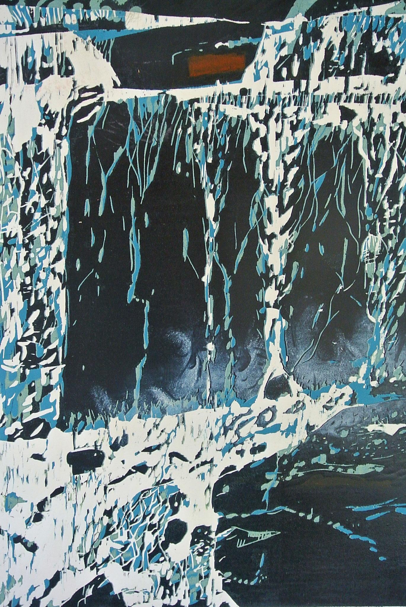 """""""Silver-Waterfall"""" Farbholzschnitt /78 x 117cm Auflage 2 Ex."""