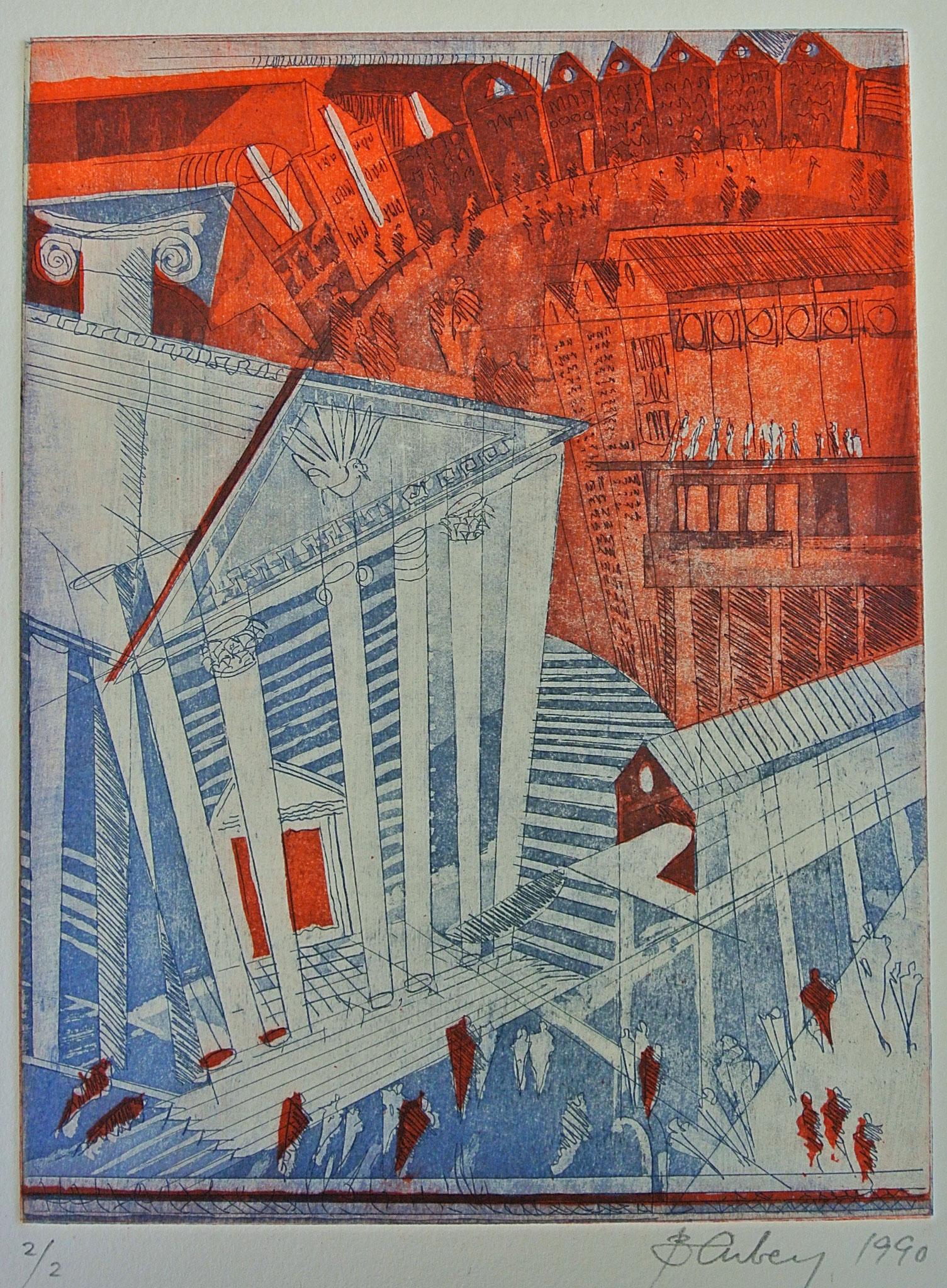 """Griechische Stadt  1  """"Aquatinta mit Strichätzung"""" / Druck Atelier H. Pfister Bern"""