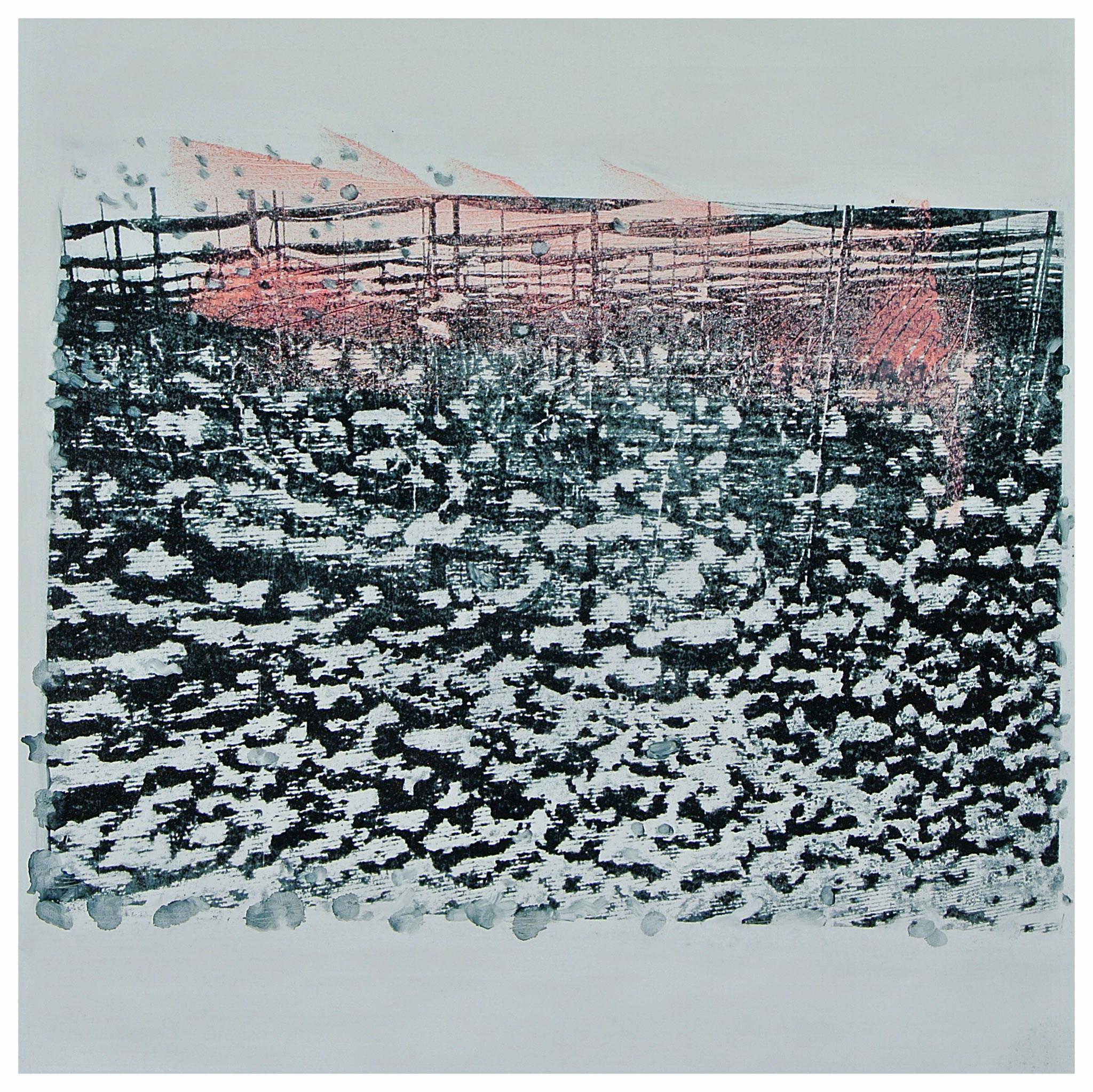 """""""Schnee in der Plantage"""" Monotypie / Gumprint auf DIBOND- Aluminiumplatte"""