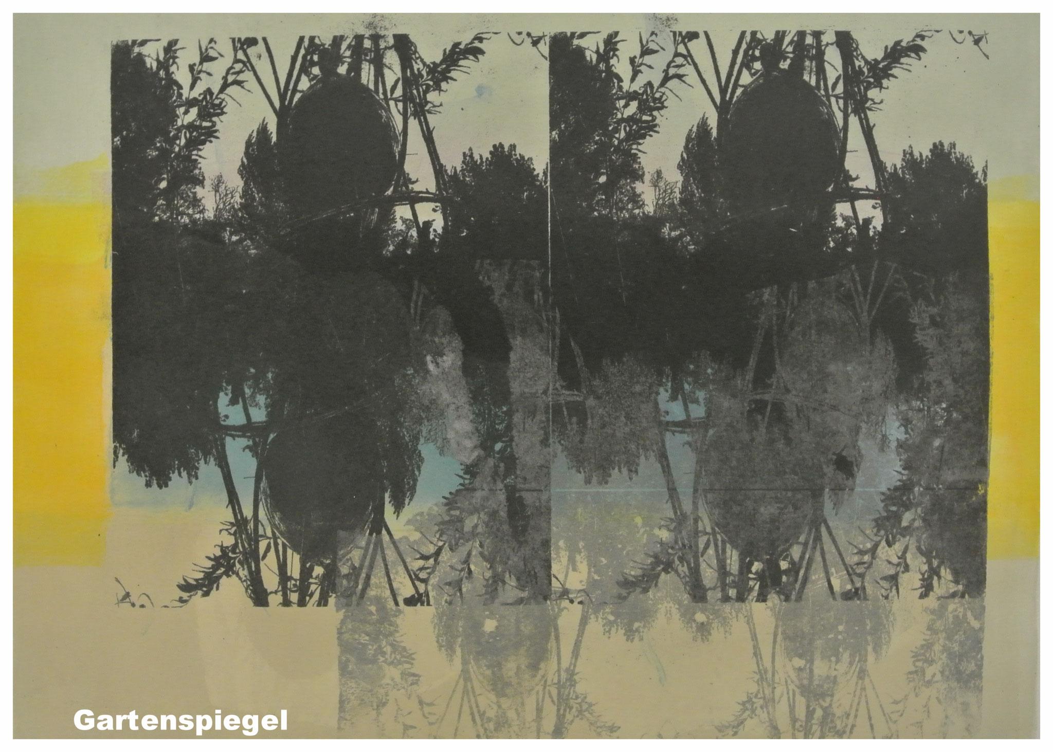 """Monotypie """" Gartenspiegel"""" Monotypie/ Gumprint"""
