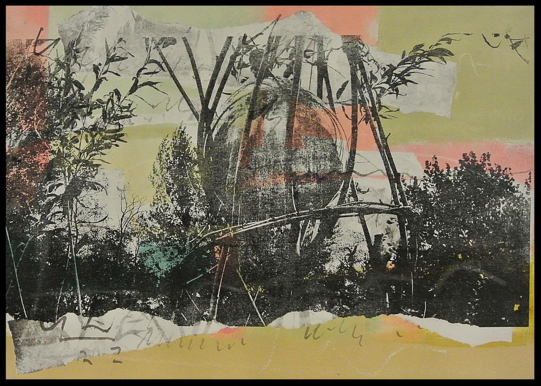 """""""Gartenzauber"""" Monotypie und Gumprint auf Büttenpapier Bild Format ca. 48 x 36cm"""