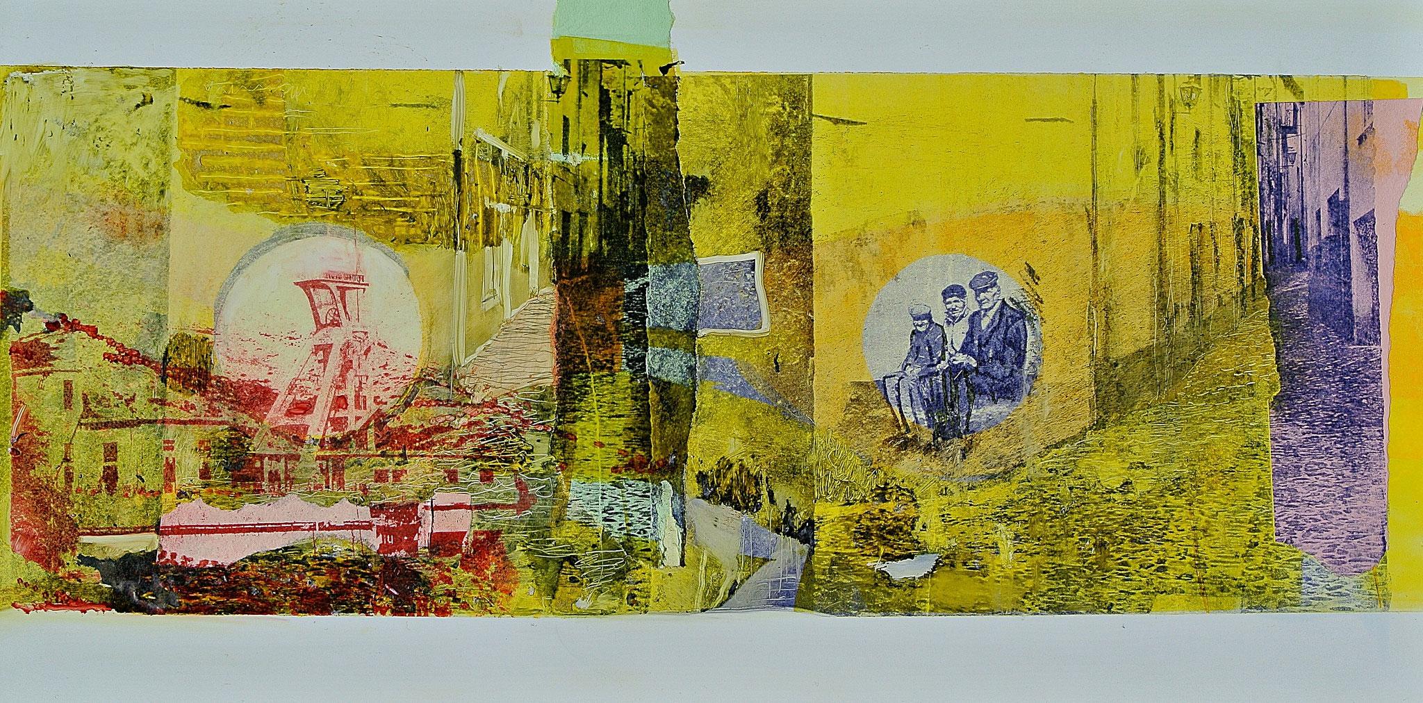 """Ein Leben in Montevecchio"" Monotypie /Gumprint auf DIBOND- Aluminiumplatte"