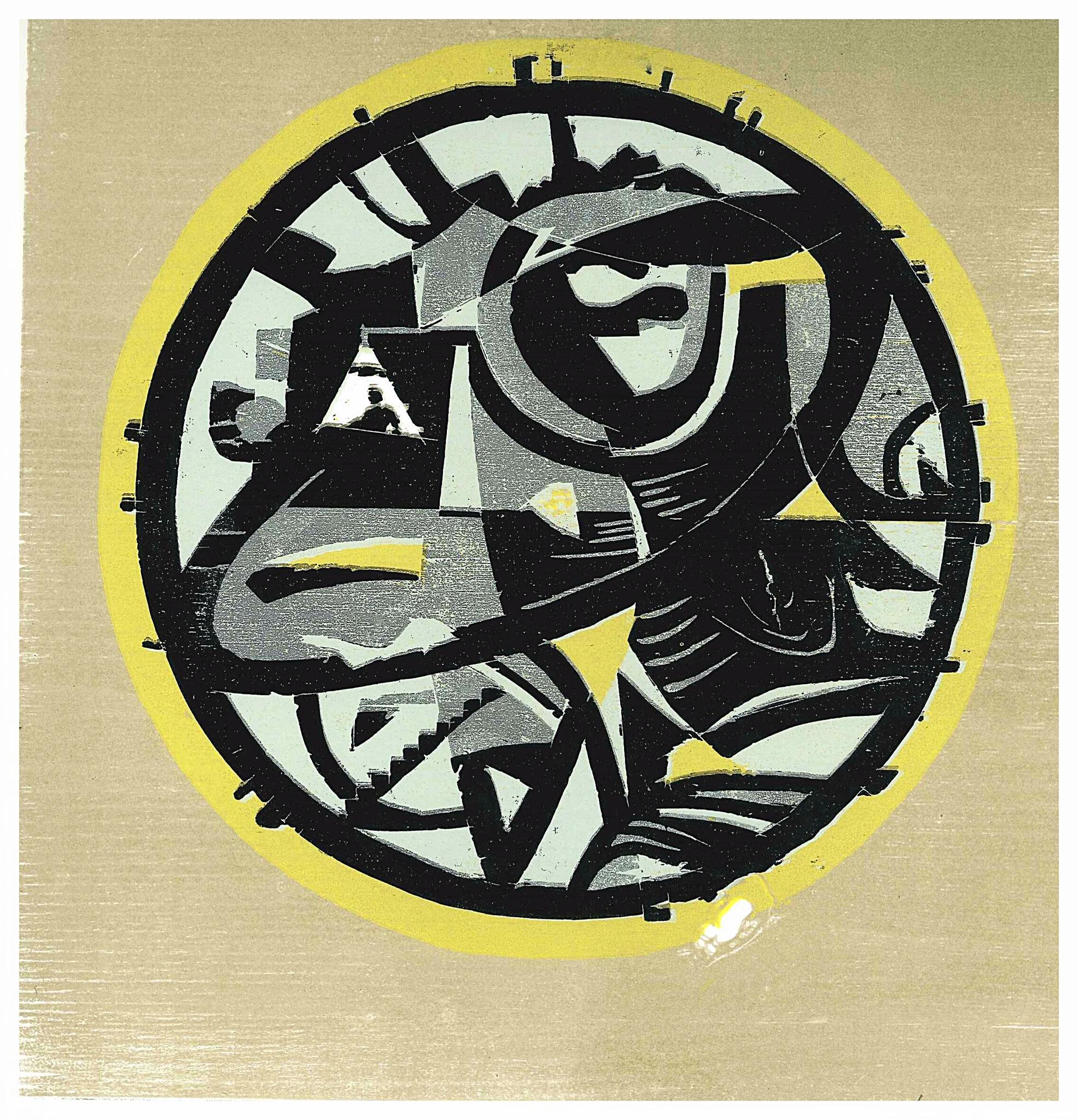 """"""" le dernier dicatateur eteint la lumière"""" Holzschnitt 40 x 40 cm ( verlorene Platte)"""