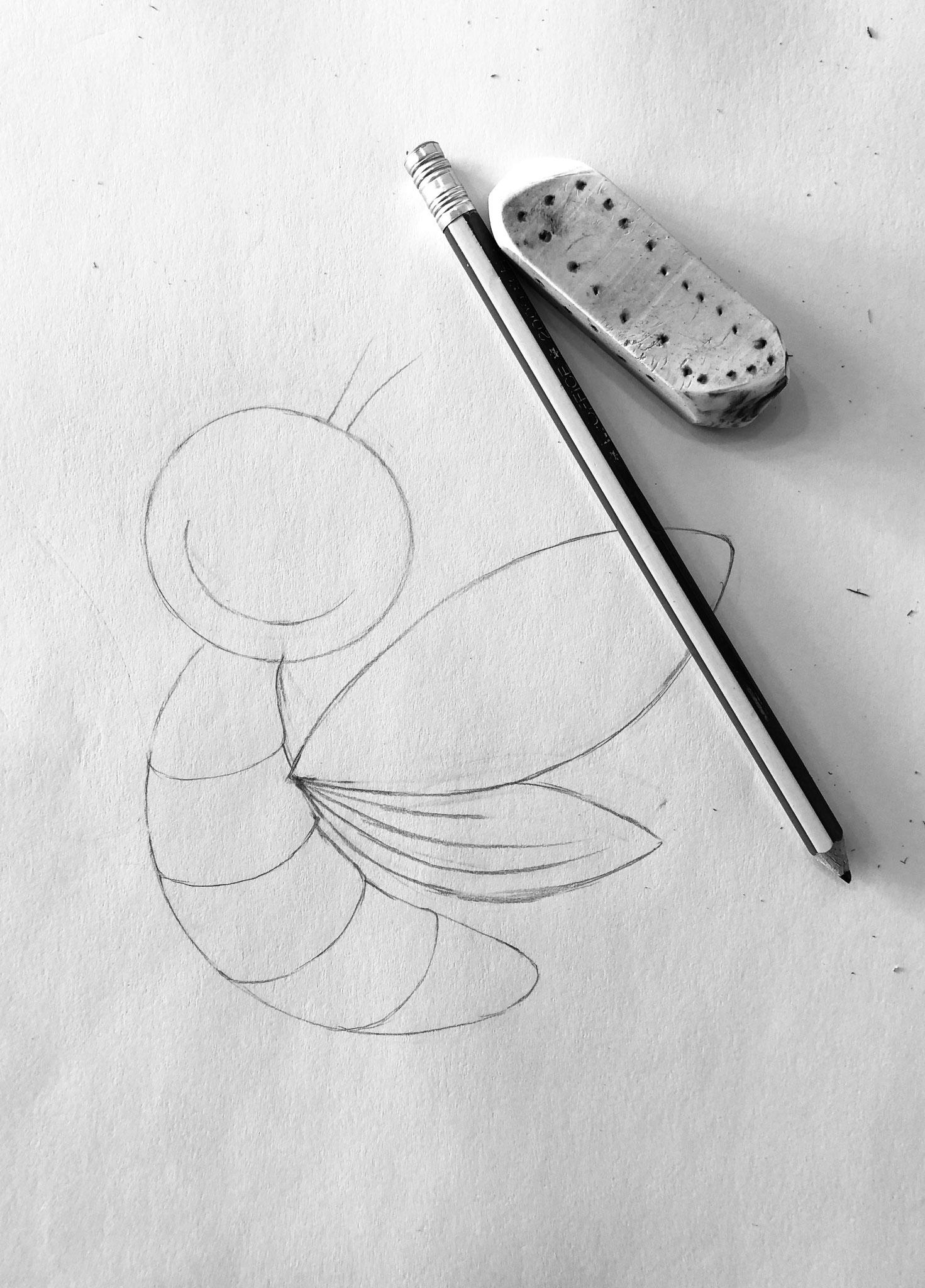 Entwurf mit Bleistift