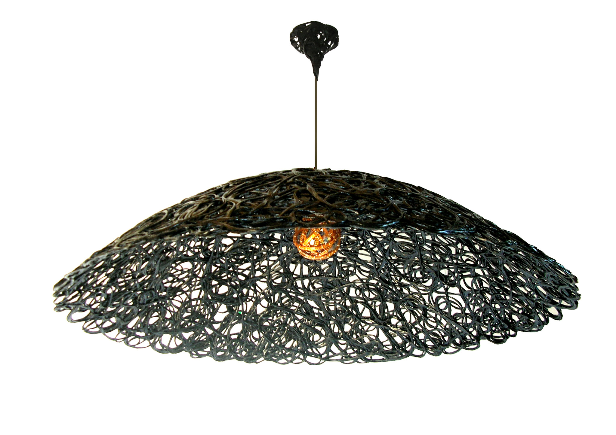 Constructive expressionism ceiling lamp, made out of carbon fiber and epoxy resin, H: 30cm, W: 110cm, L: 110cm