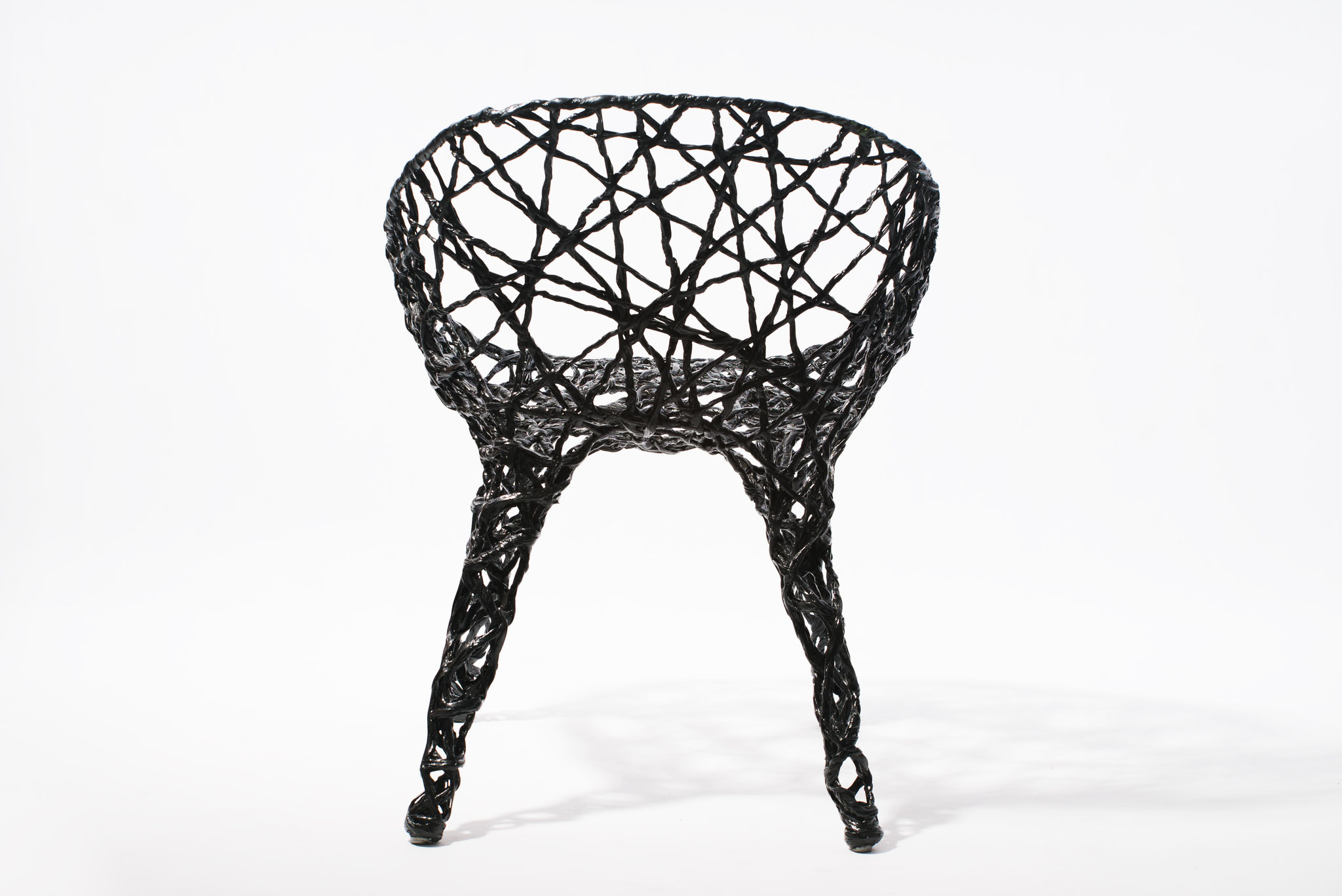Constructive expressionism chair, made out of carbon fibre and epoxy resin, H: 78cm, W: 53cm, L: 64cm