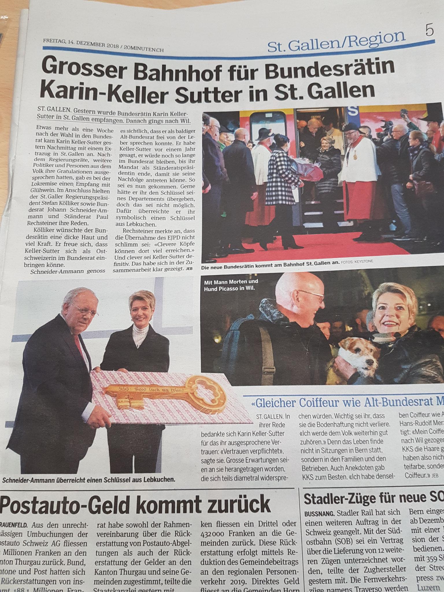 Biber für die neue Bundesrätin Karin Keller Sutter  (im 20 Min)