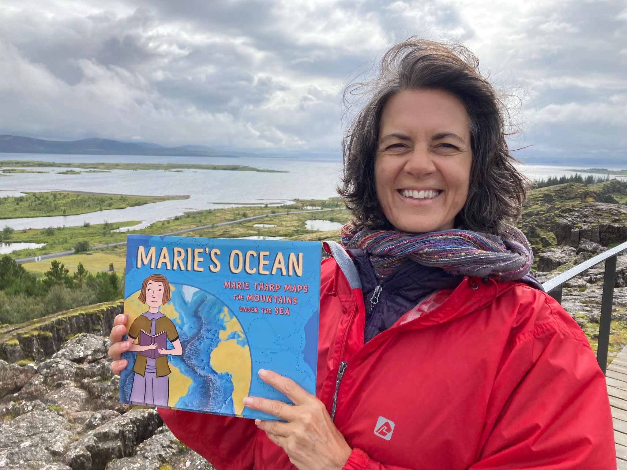 A very happy and amazed me with my book, the Rift Valley and Thingvellir lake. How did I get here?