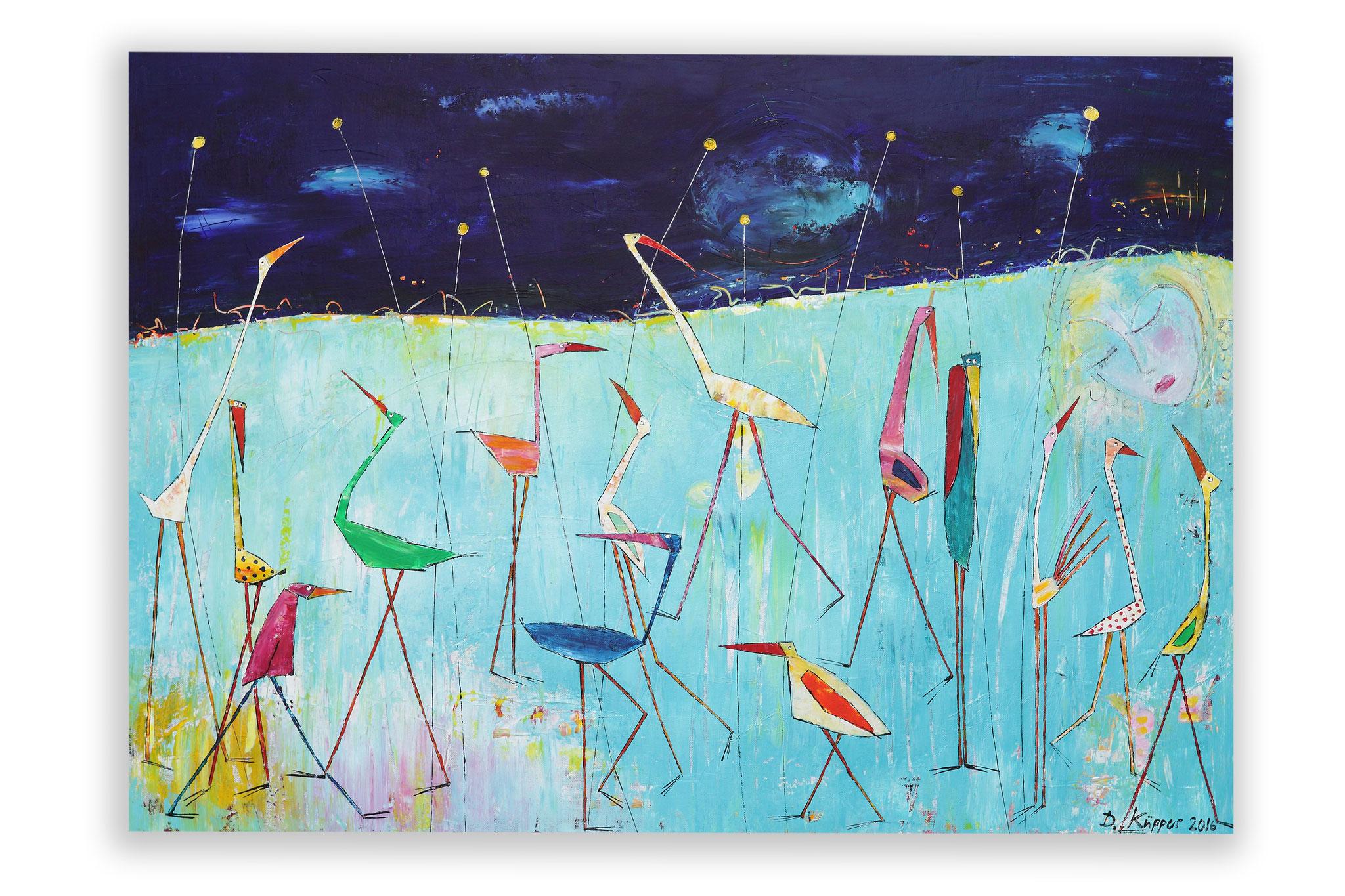 """""""Mädchen mit Vögeln"""" - 100x70cm - Preis: 350 Euro"""