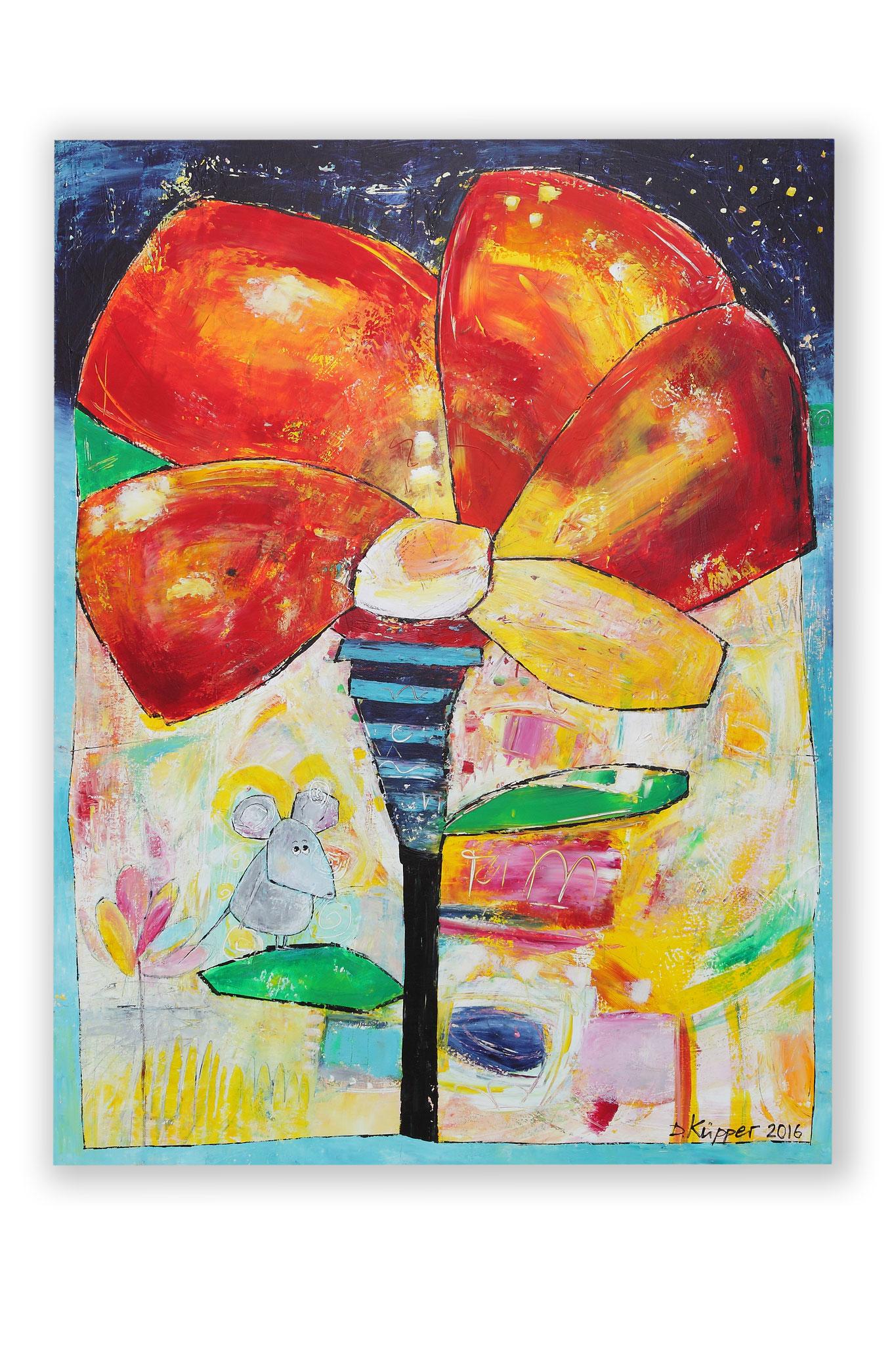 """Maus auf Blume"" - 90x110cm - Preis: 390 Euro"