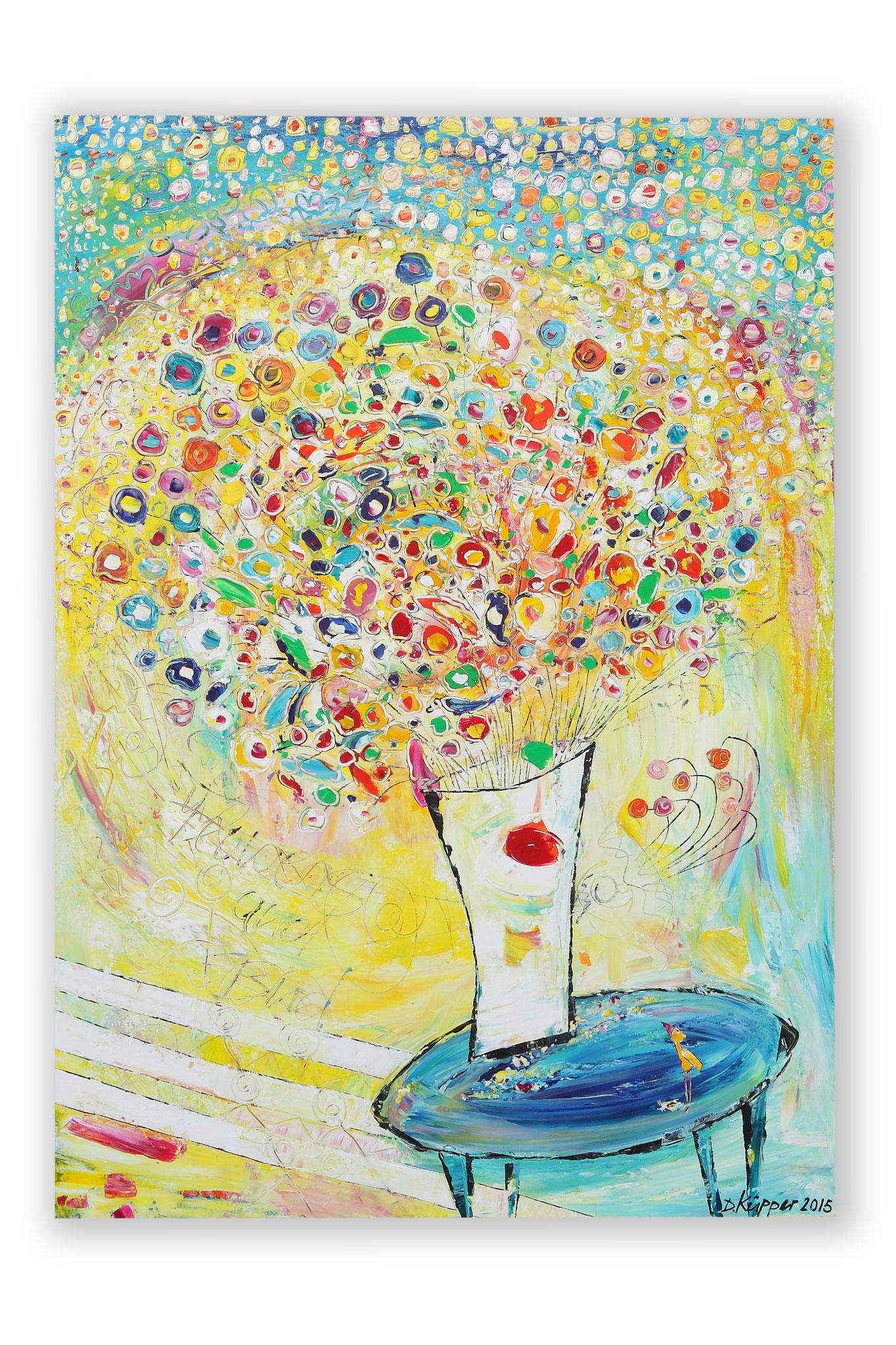 """Flowers & Bird"" - 70x100cm - Preis: 320 Euro"