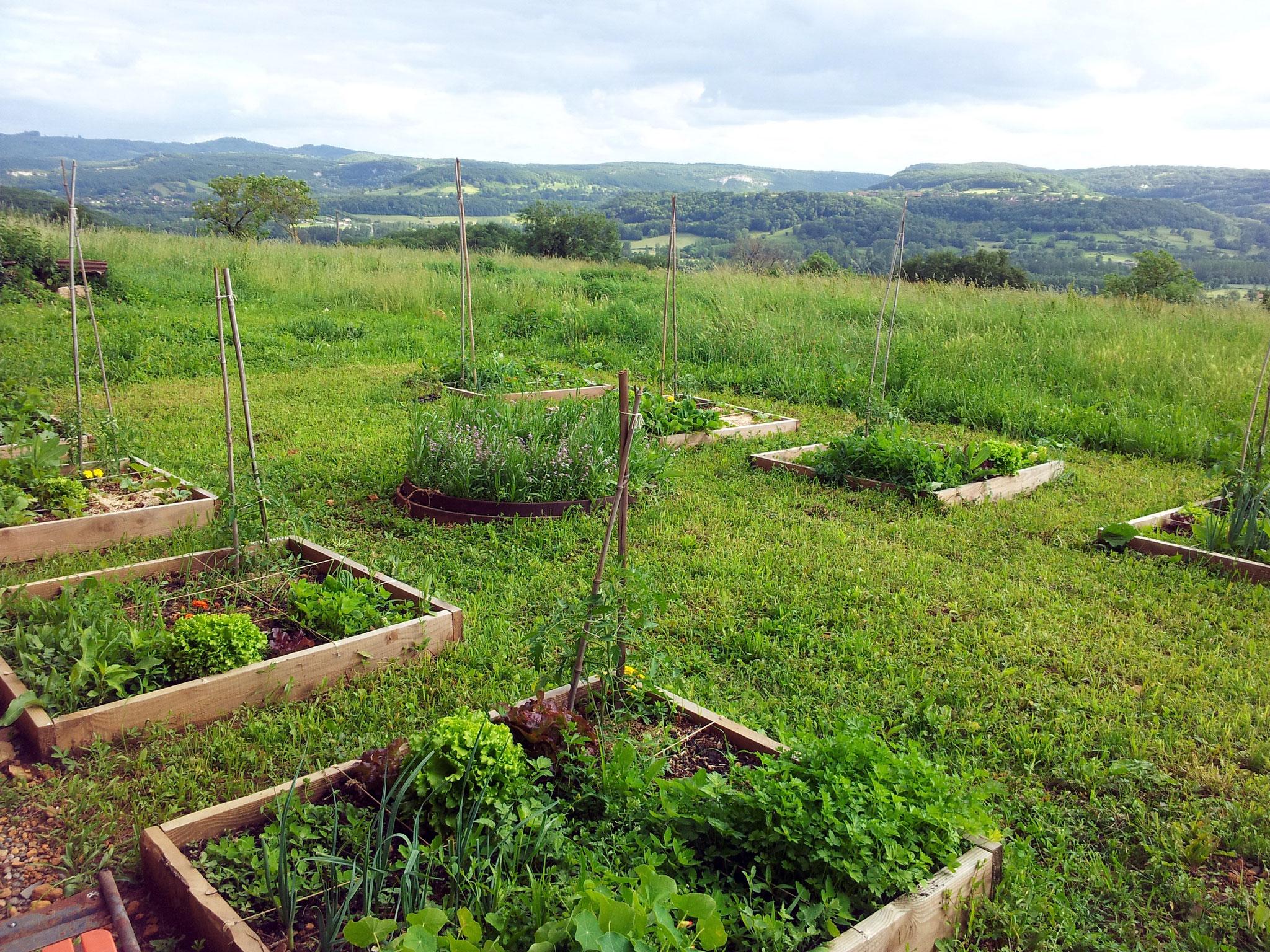La vue sur le Causse de Gramat depuis le jardin et la cuisine d'été