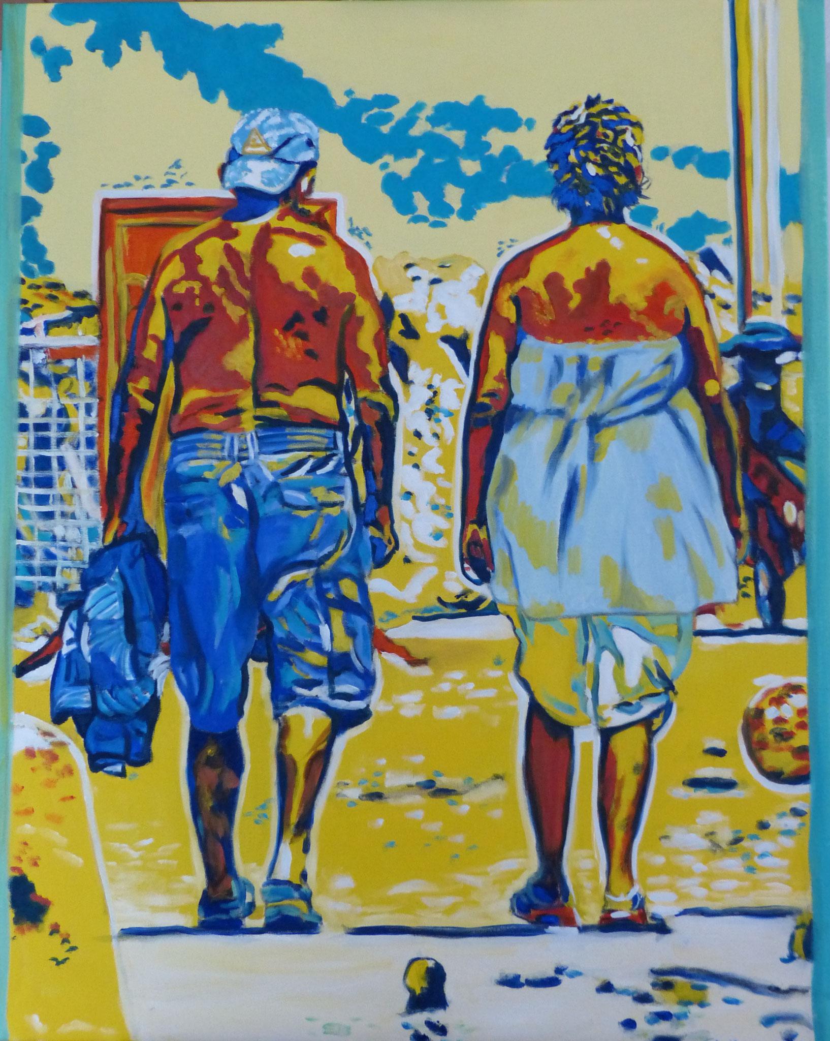 Ugly tourists II, 2013, 100 x 80cm, Öl auf Leinwand