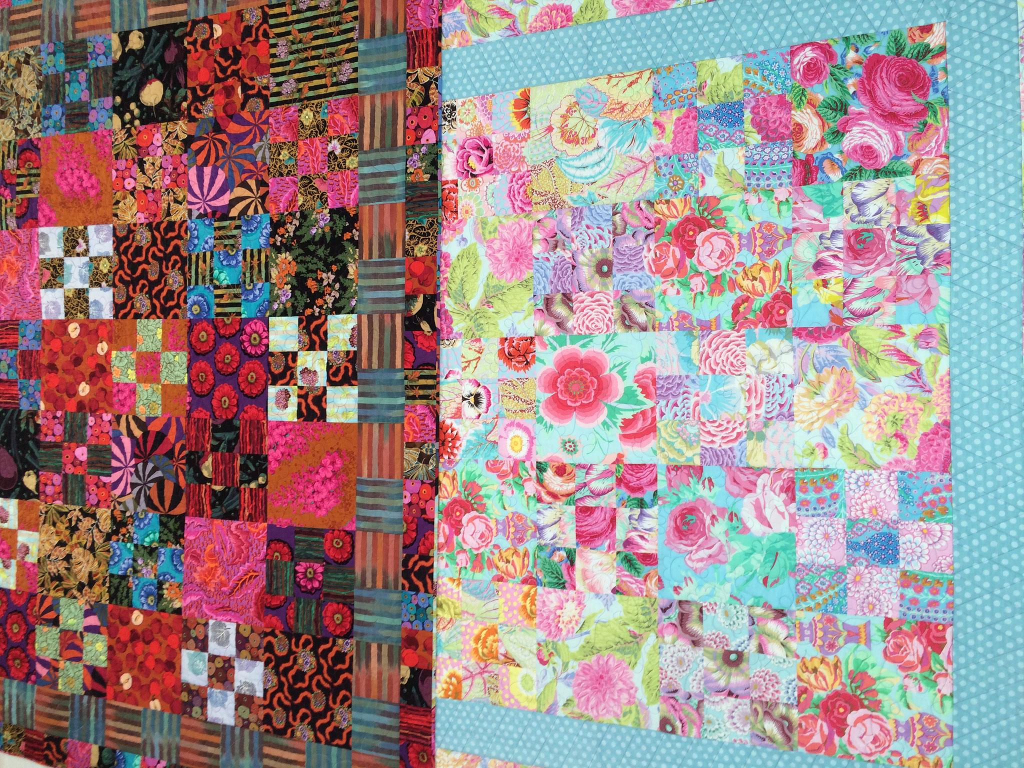 J'avais fait le même quilt mais avec d'autres tissus il y a quelques années, et quilté sur ma Bernina.