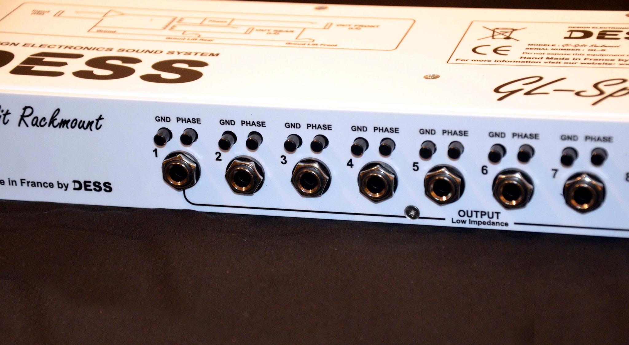 Splitter,  isolateur,  ground lift, 10 voies, Mono, phase, guitare, basse, GL-Split Rackmount